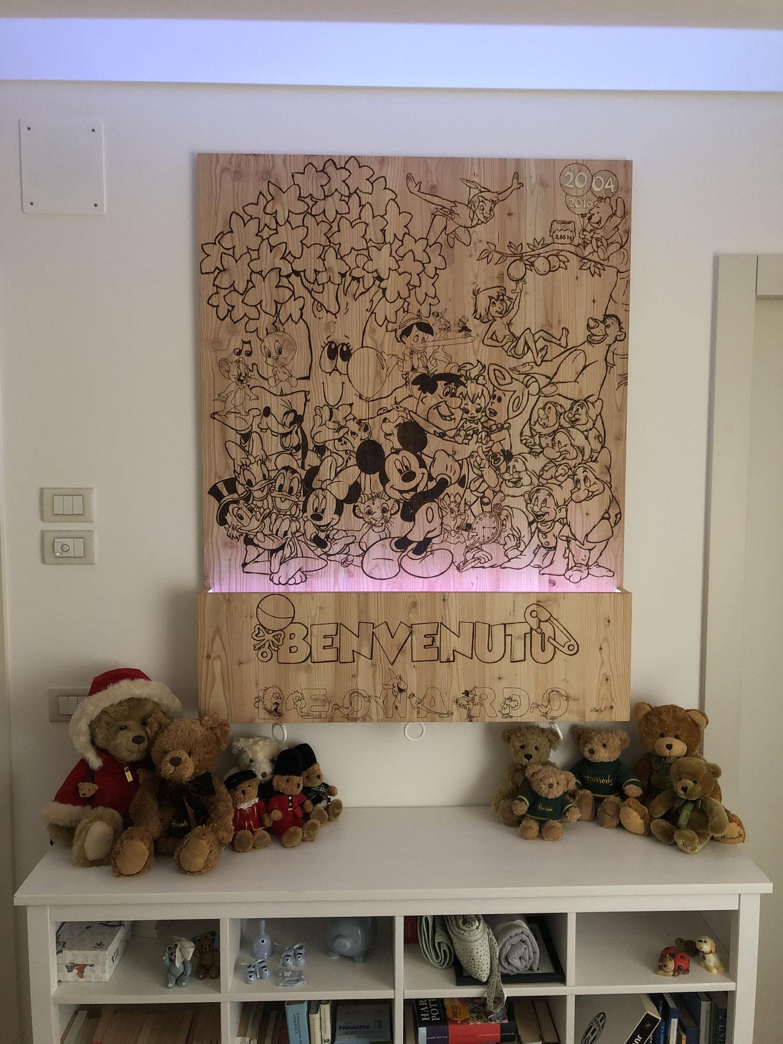 Pannello decorativo con luce Led per cromoterapia e carillon per nascita bambino