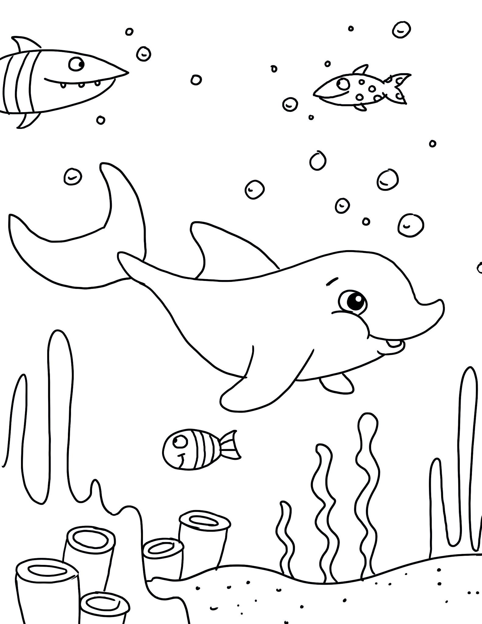 Ausmalbild Delfin