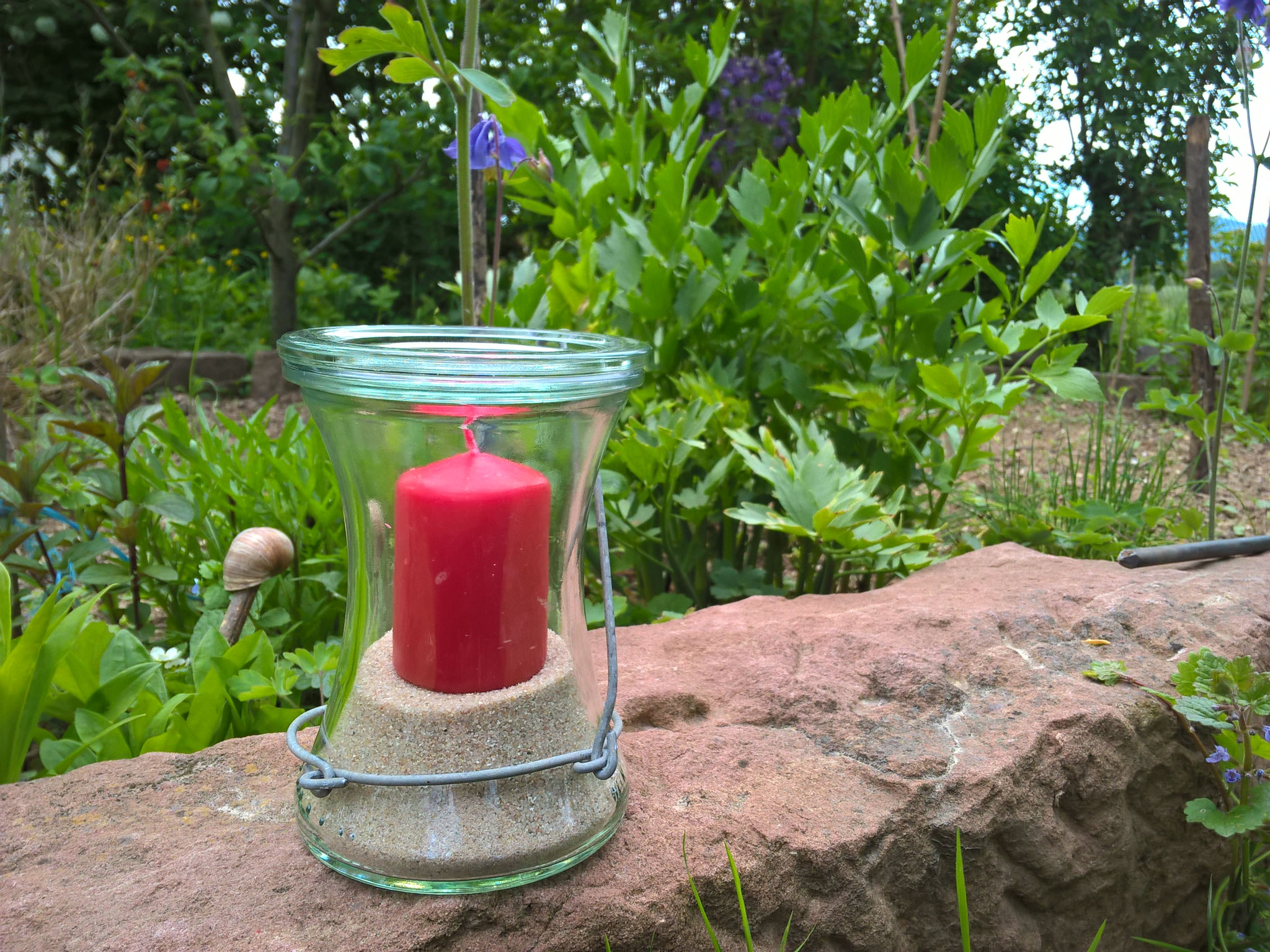 Stab Spirale mit Kerzenglas