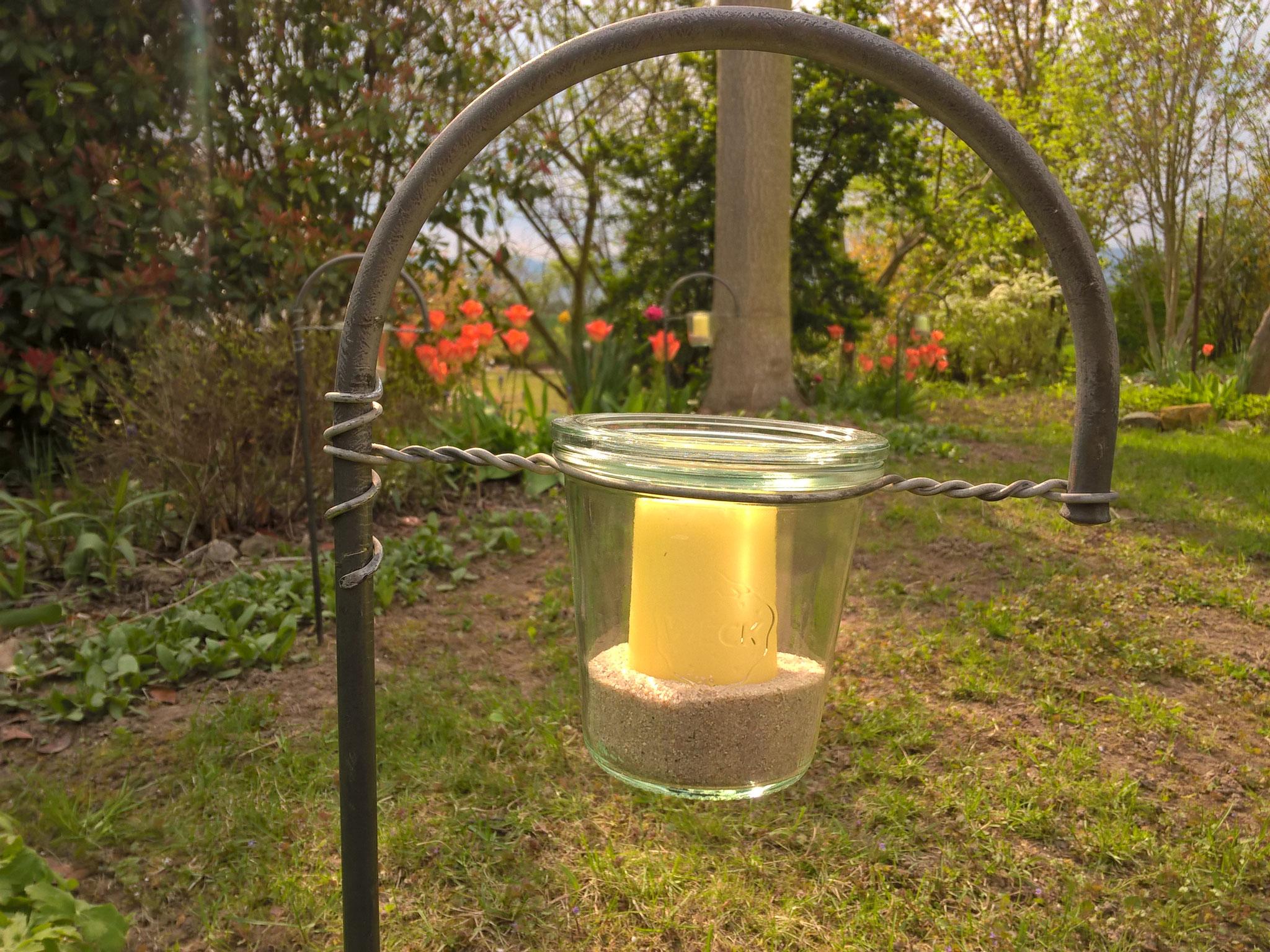 Stab mit Kerzenglas 80 mm