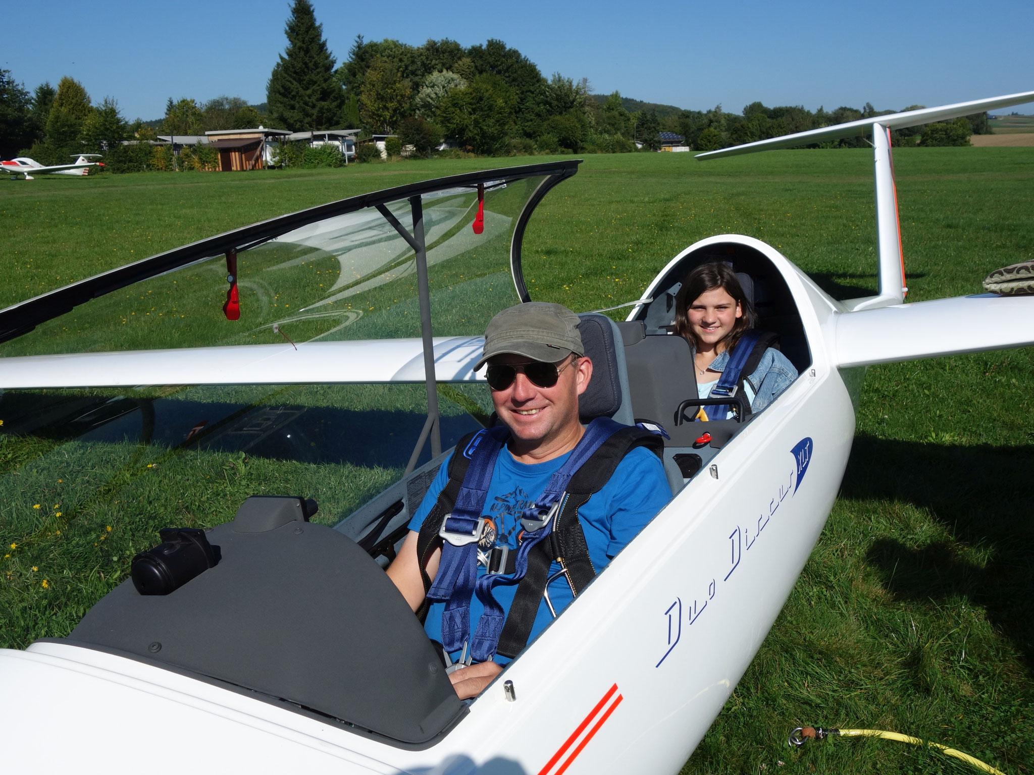 Steffen Münstermann mit Fluggast im Duo Discus