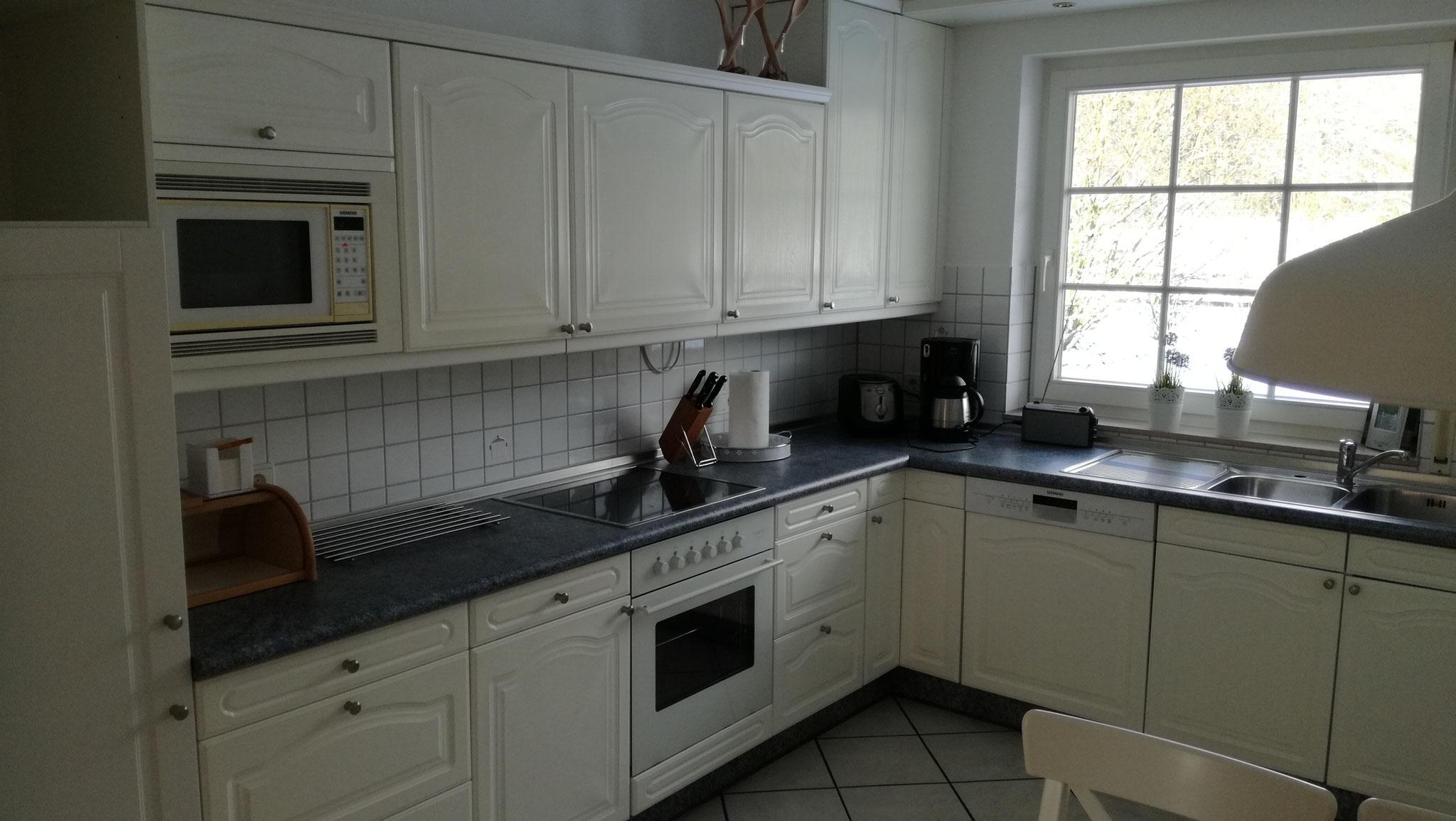 Die Küche verfügt über ein Ceranfeld, Backofen, Mikrowelle, Geschirrspüler, Kaffeemaschine usw.