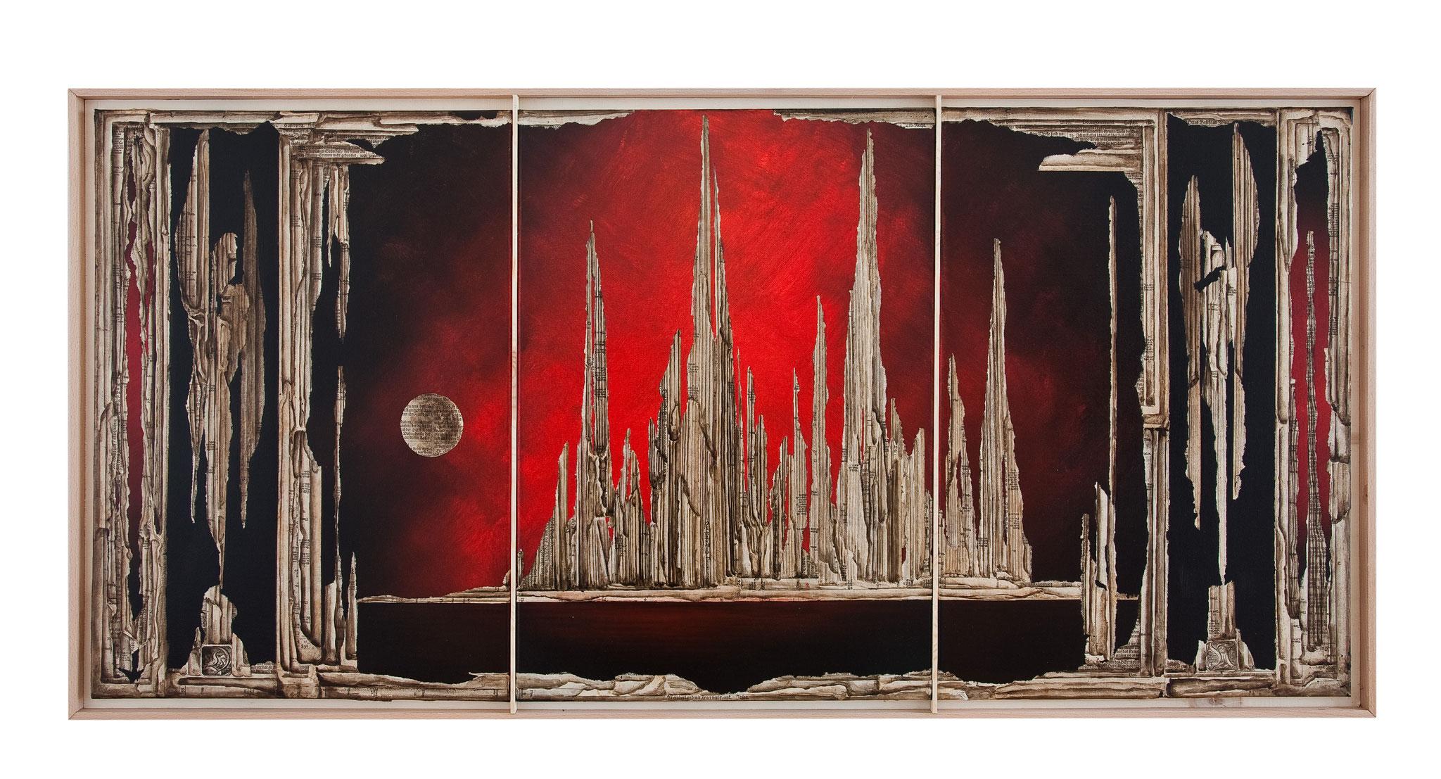 AI BRENNT - 2014 - Acryl, Tusche, Papier auf Leinwand  - 75 x157 cm