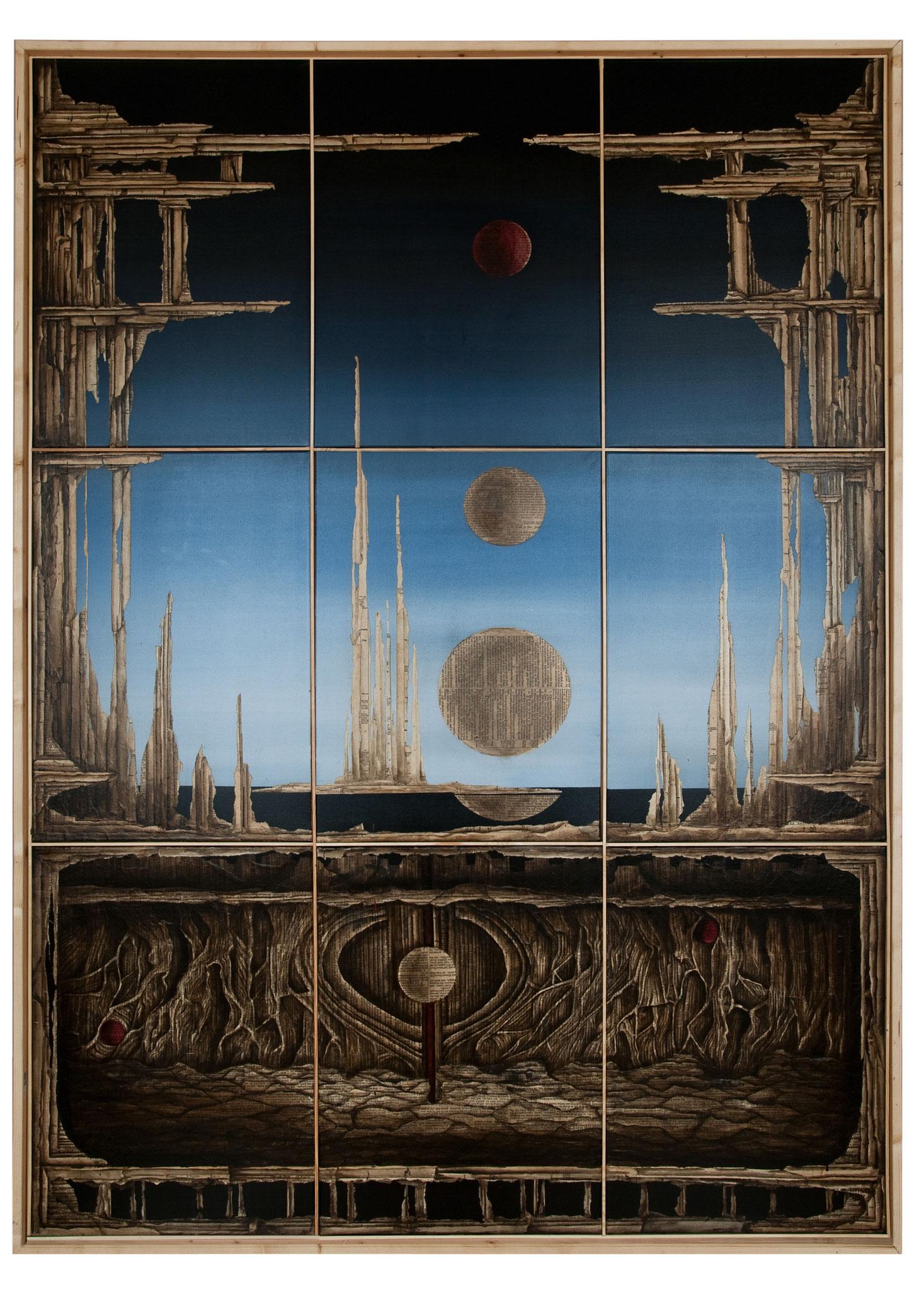 UNTER DER RUHE - - 2014 - Acryl, Tusche, Papier auf Leinwand  - 218 x158 cm