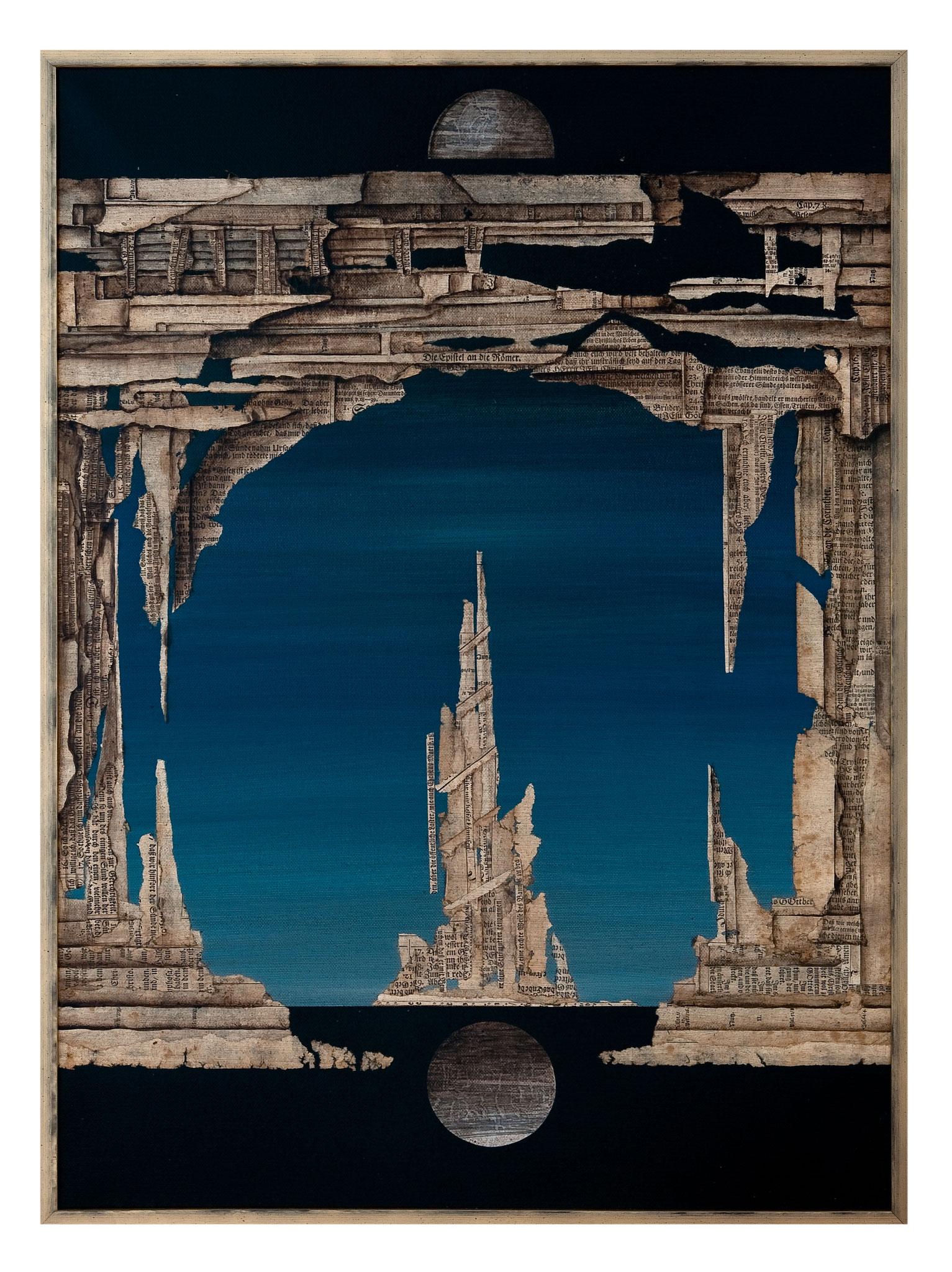 DIE ILLUSION HINTER DEM TRIUMPHBOGEN - - 2013 - Acryl, Tusche, Papier auf Leinwand  - 76 x56 cm