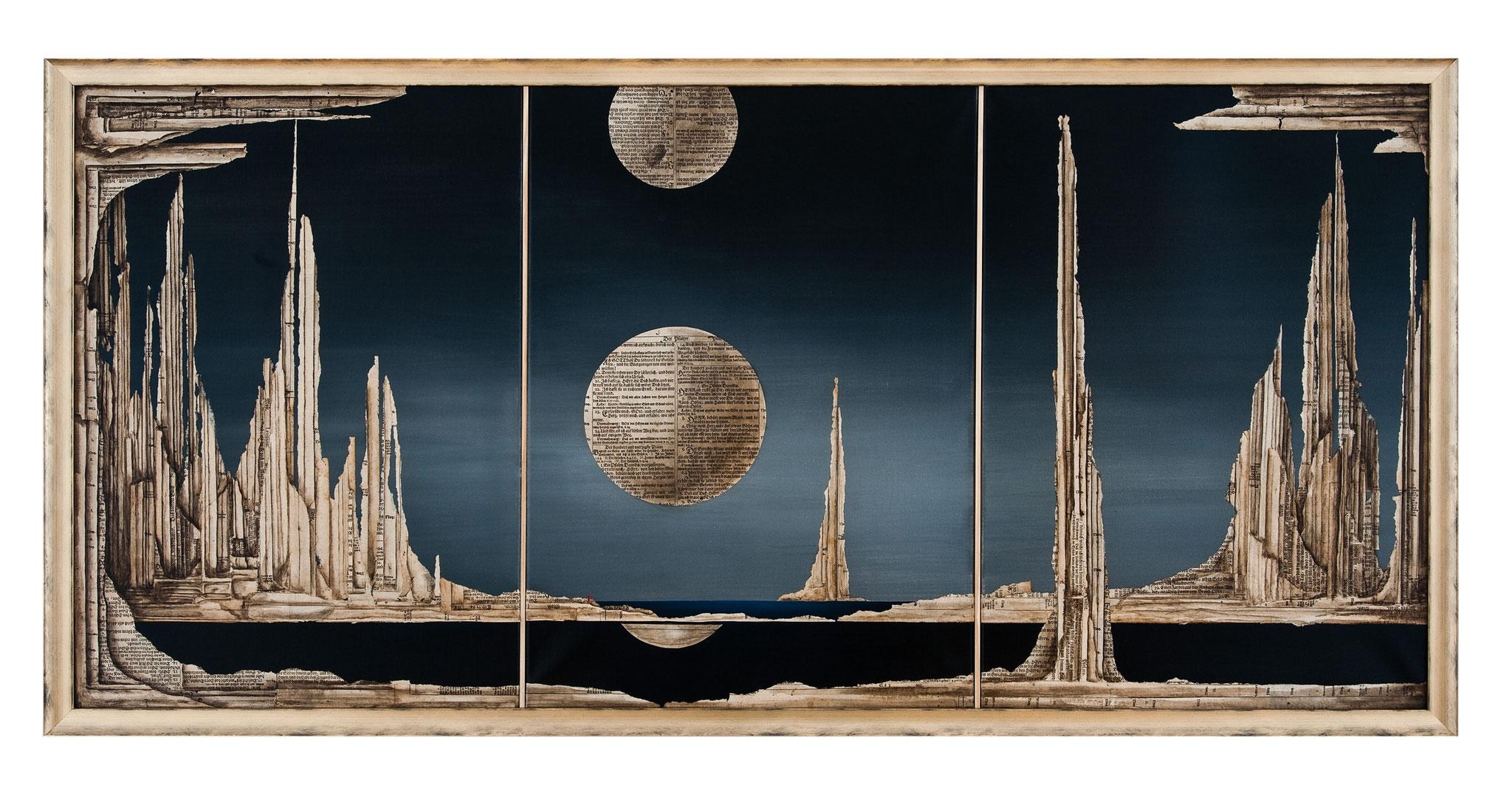 GRUSS AN DEN MORGEN - - 2014 - Acryl, Tusche, Papier auf Leinwand  - 76 x156 cm