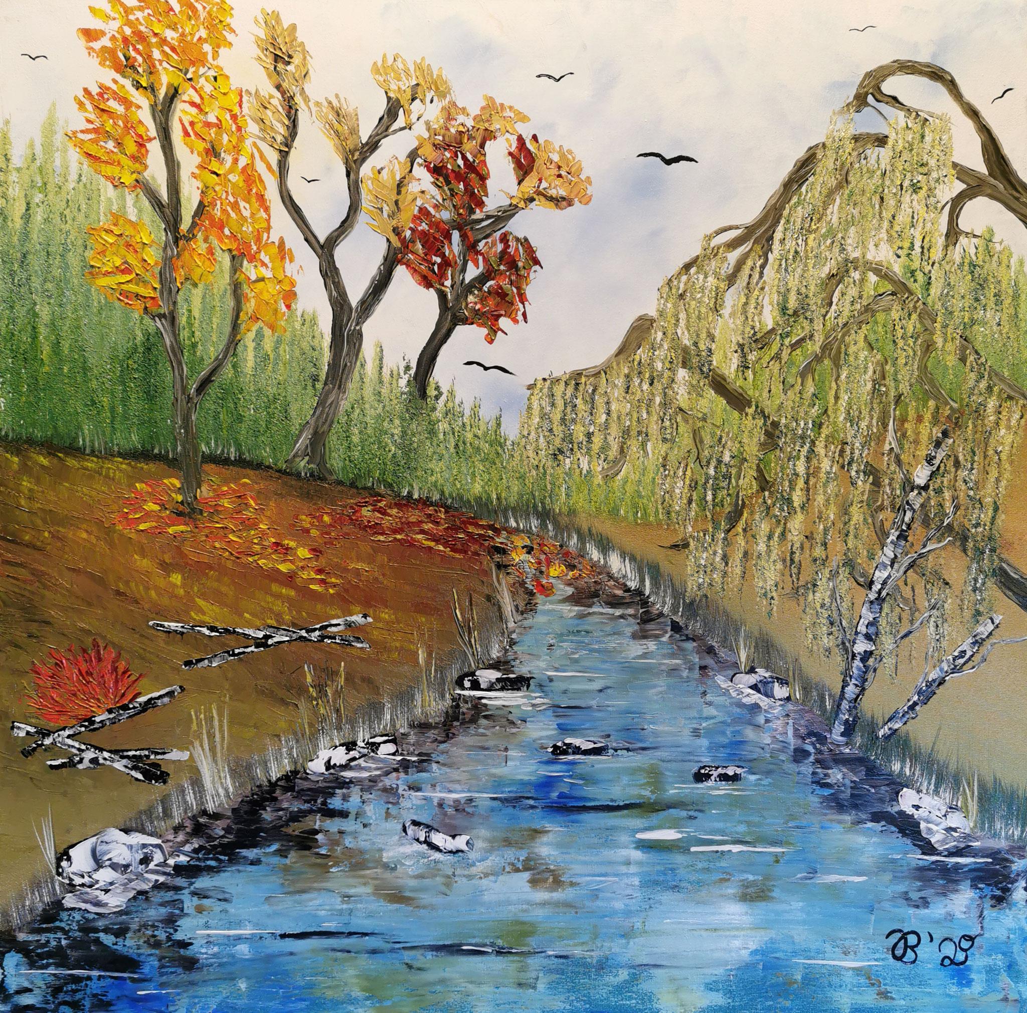 Trauerweide am Fluss     50 cm x 70 cm