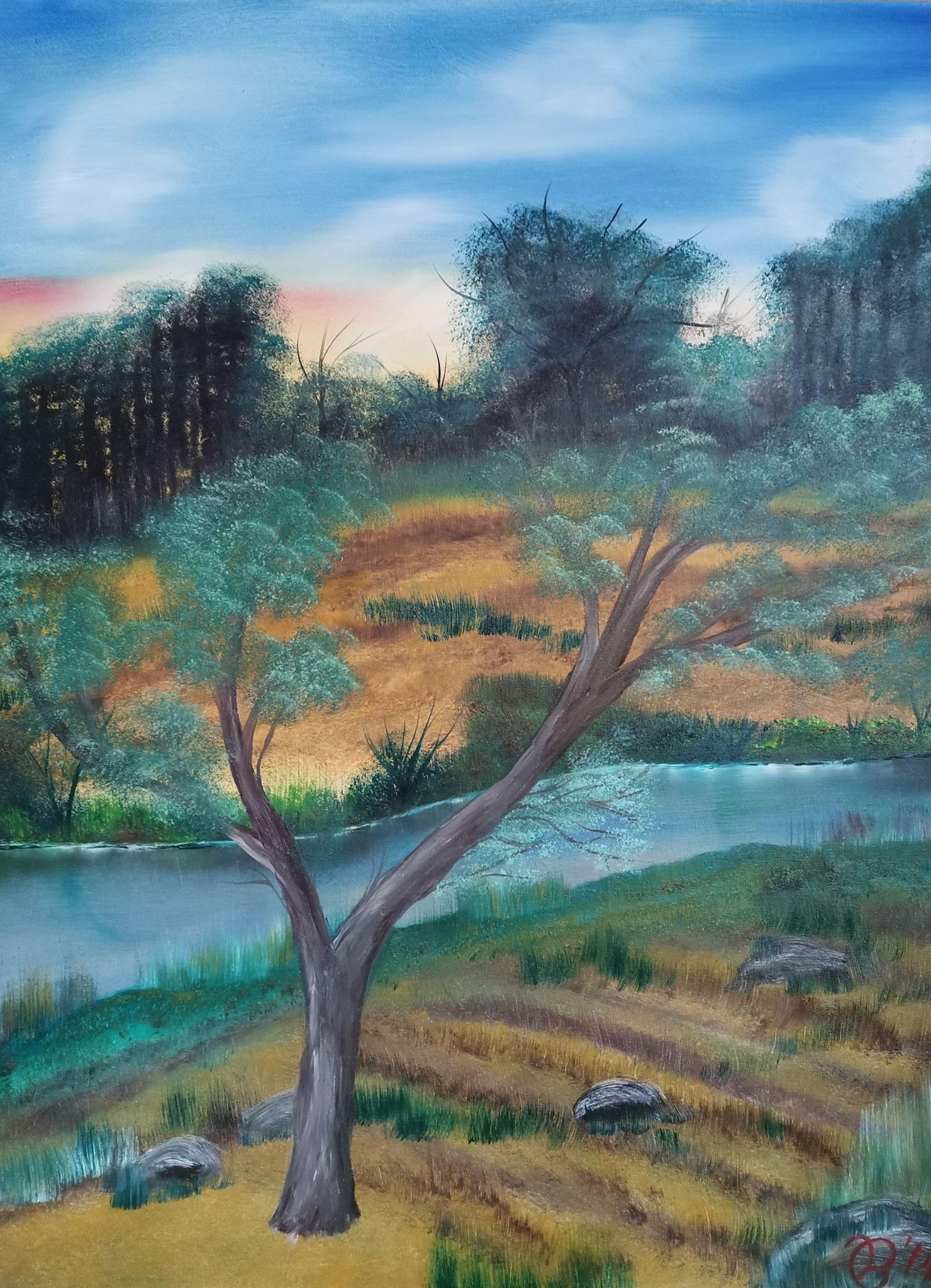 (86)     Baum am Fluss     60 cm x 80 cm