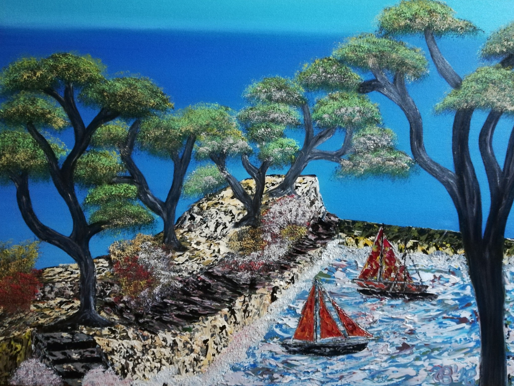 (74)     Segelschiffe im Hafen     80 cm x 40 cm