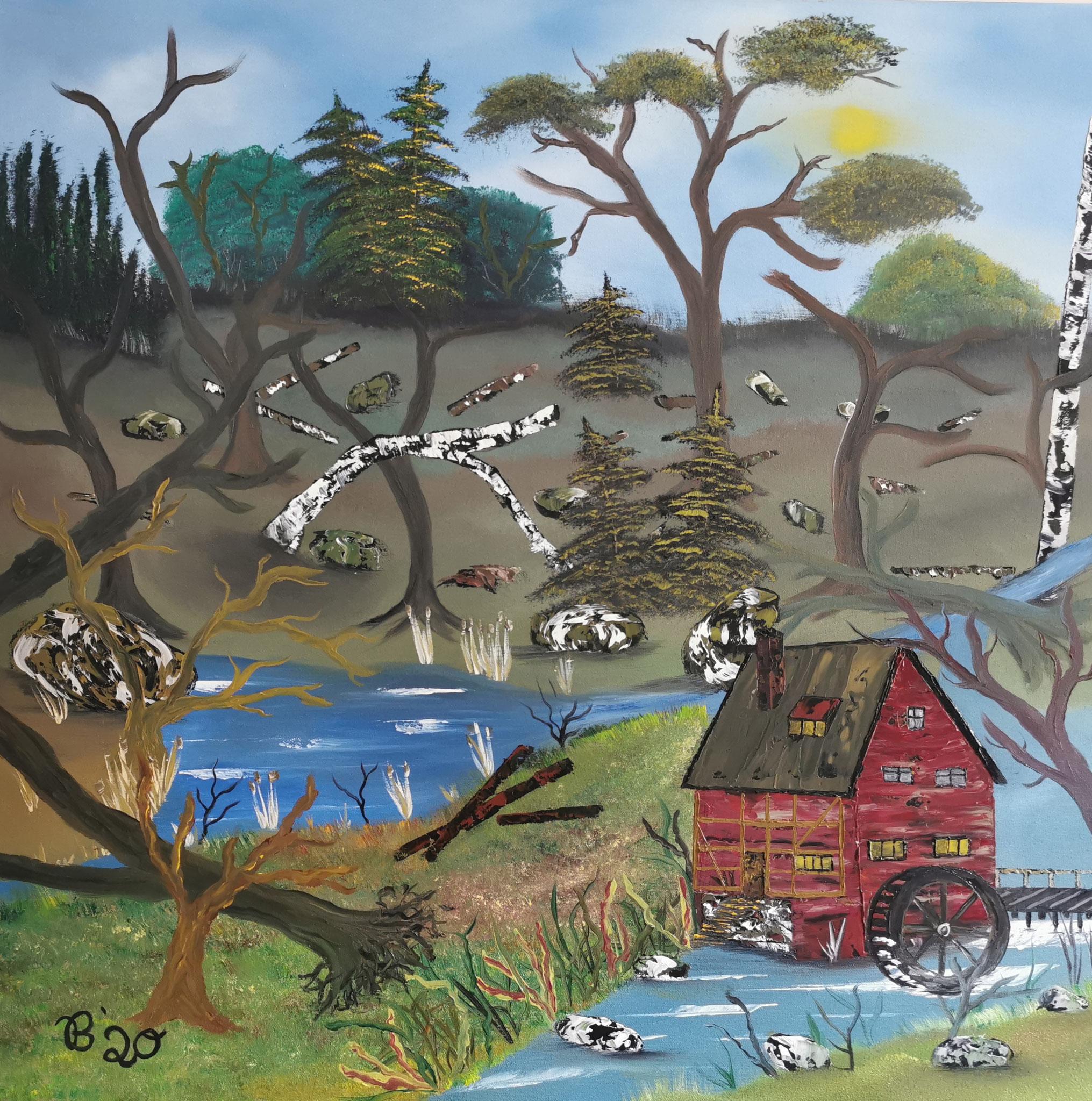(43)     Mühle in Burgund     80 cm x 80 cm