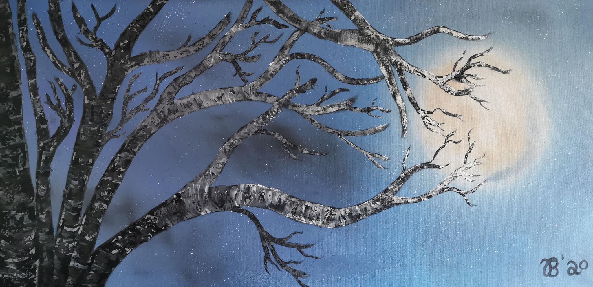 (39)     Birke im Mondlicht     80 cm x 40 cm