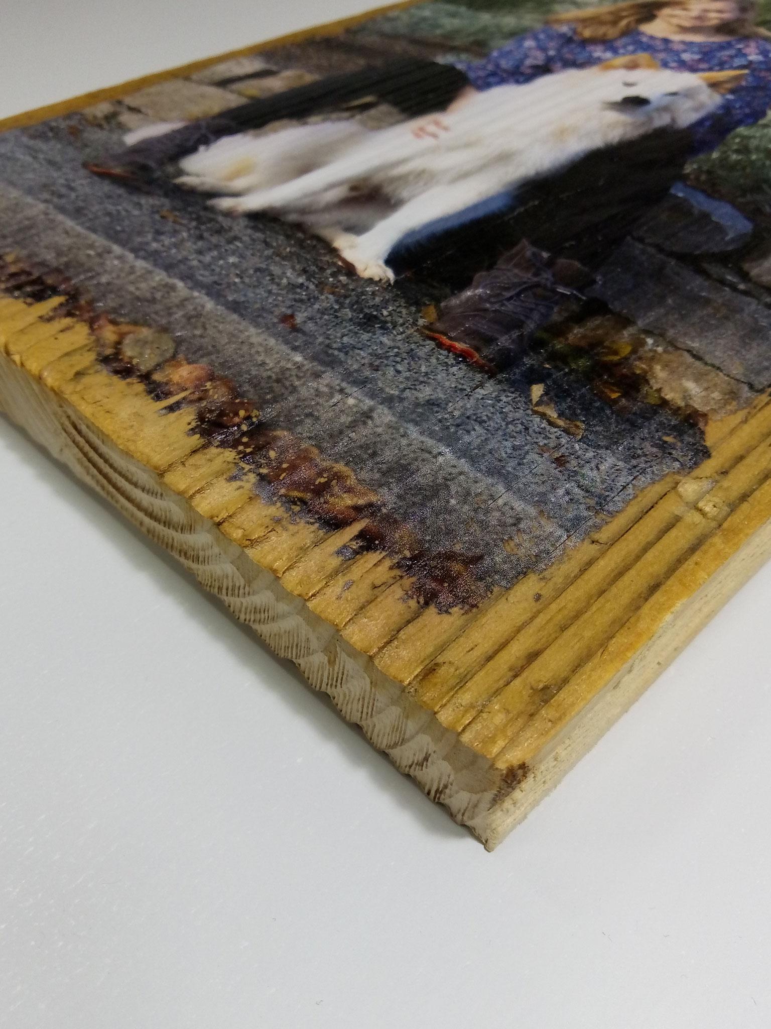 Alter Dielenboden mit Vintage-Print 20x30cm
