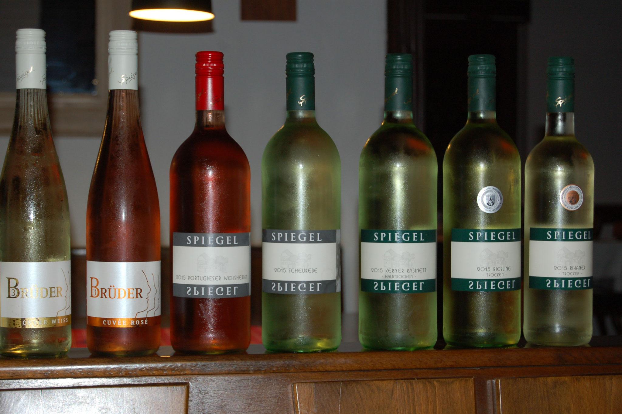 Pfälzer Weine des Weingutes Spiegel in Großfischlingen