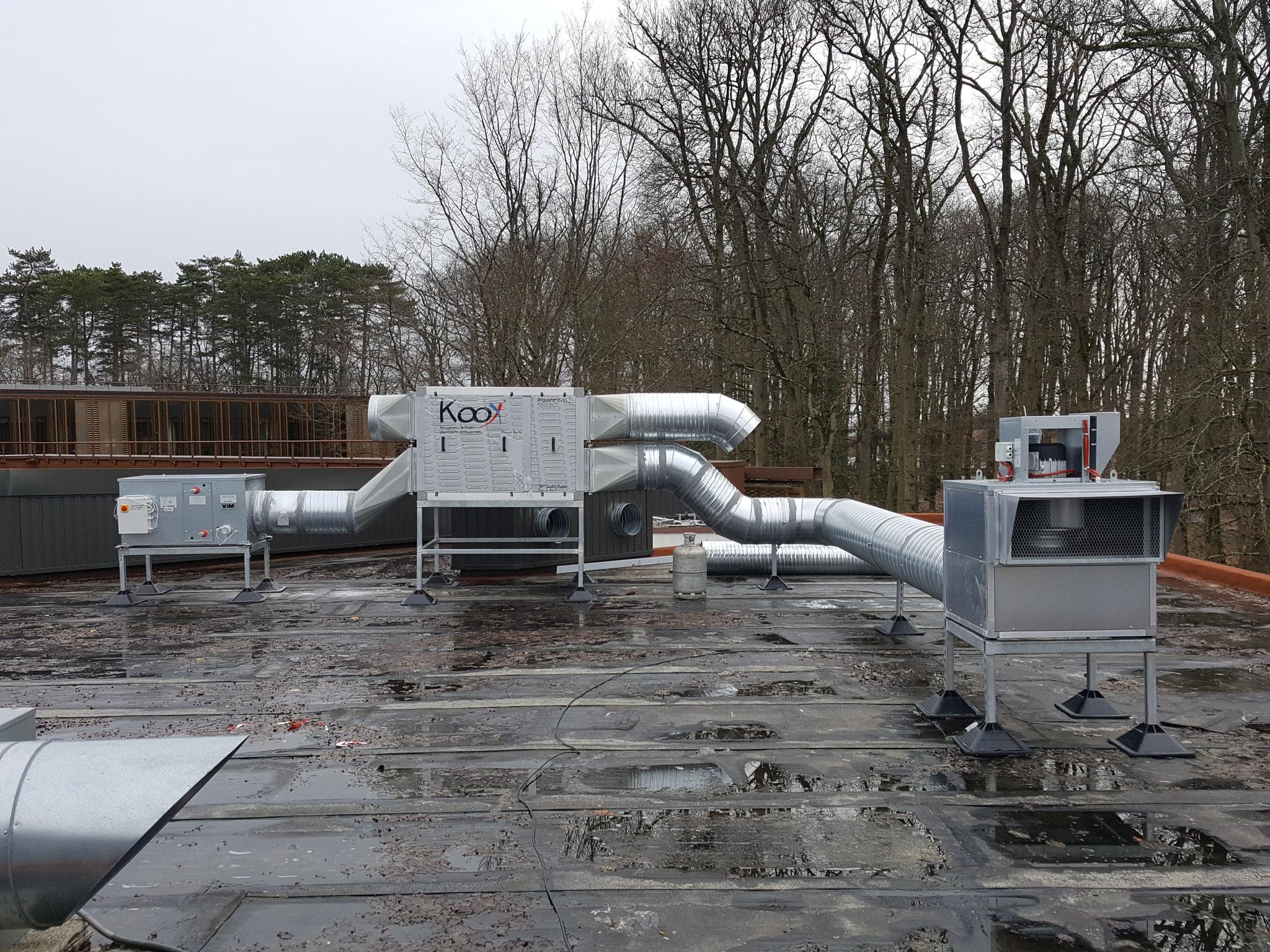 Un extracteur de fumée racccordé au récupérateur KOOX et une CTA
