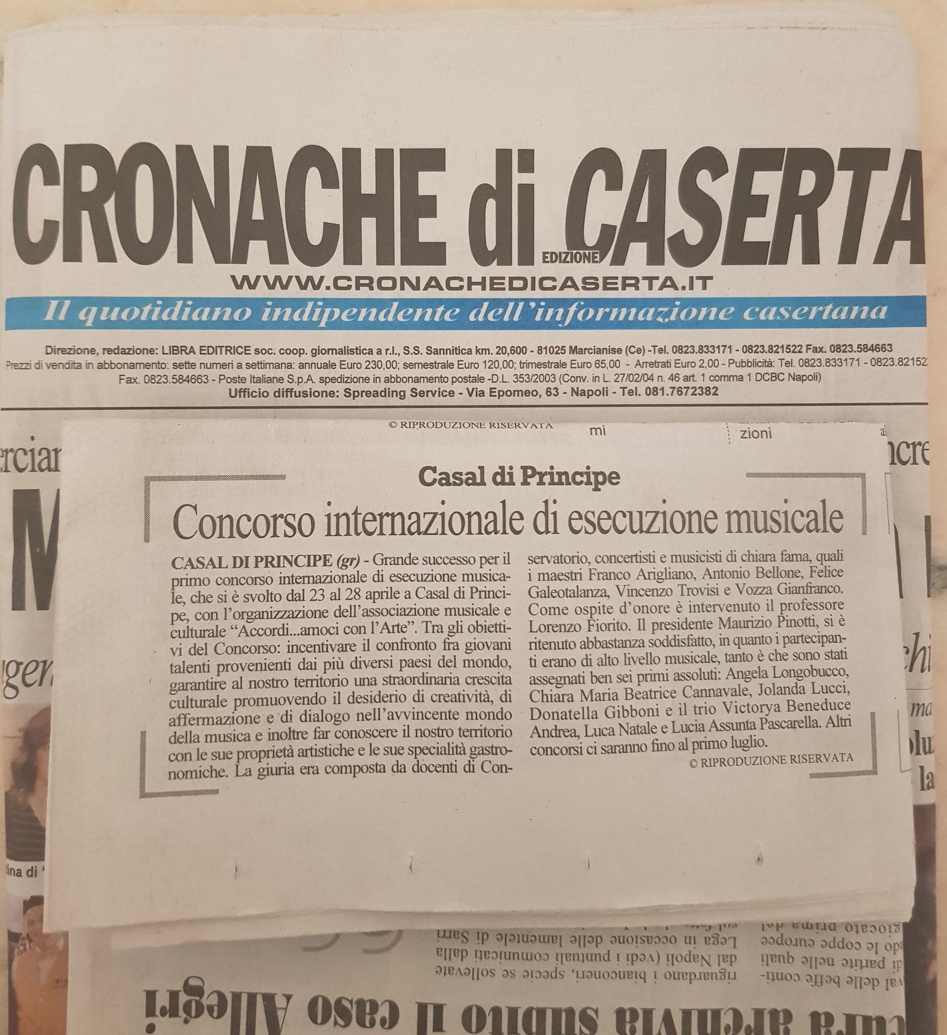 ARTICOLO CRONACHE CASERTA