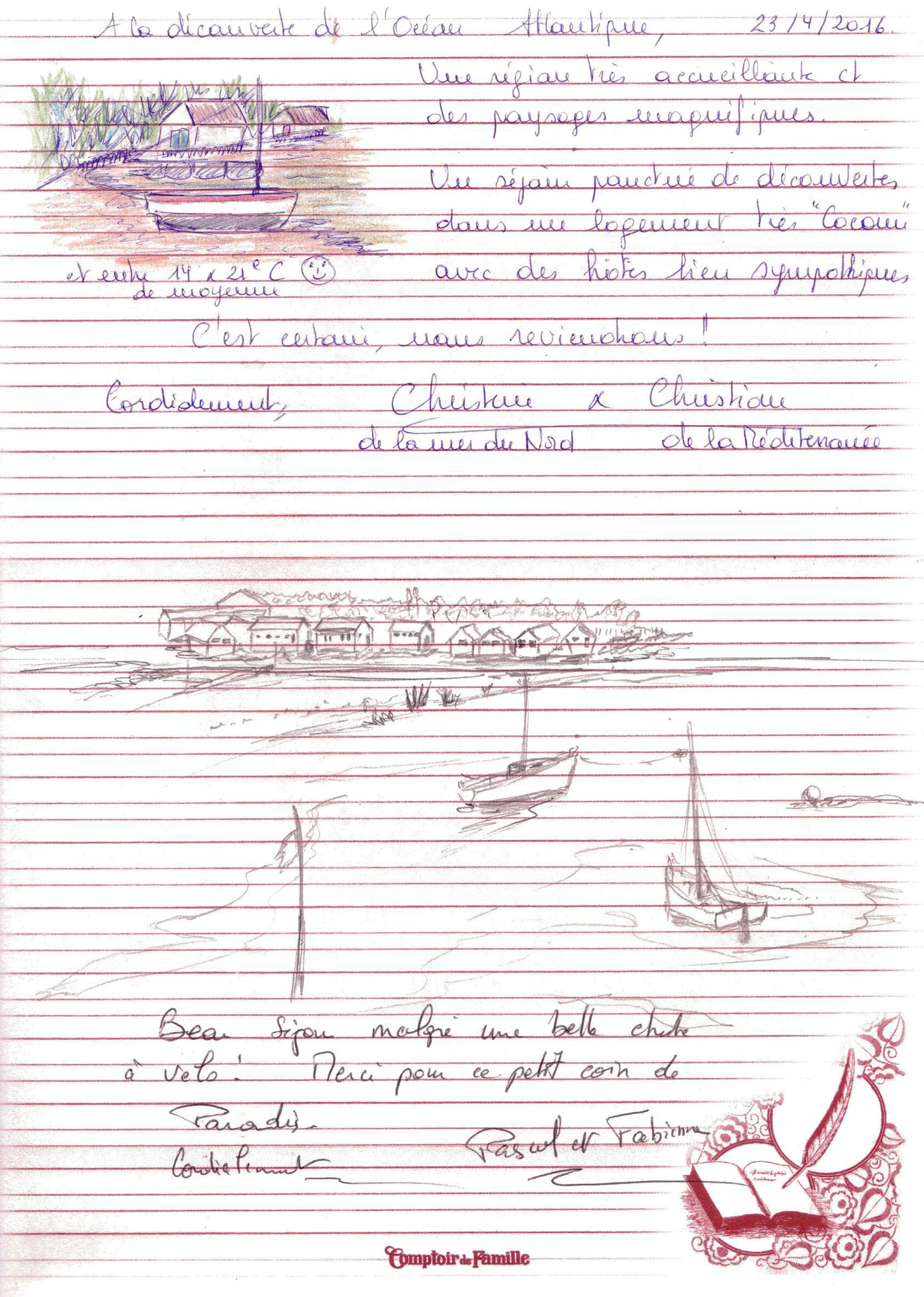 livre d'or vacances escale du vieux chapus marennes oléron charente maritime