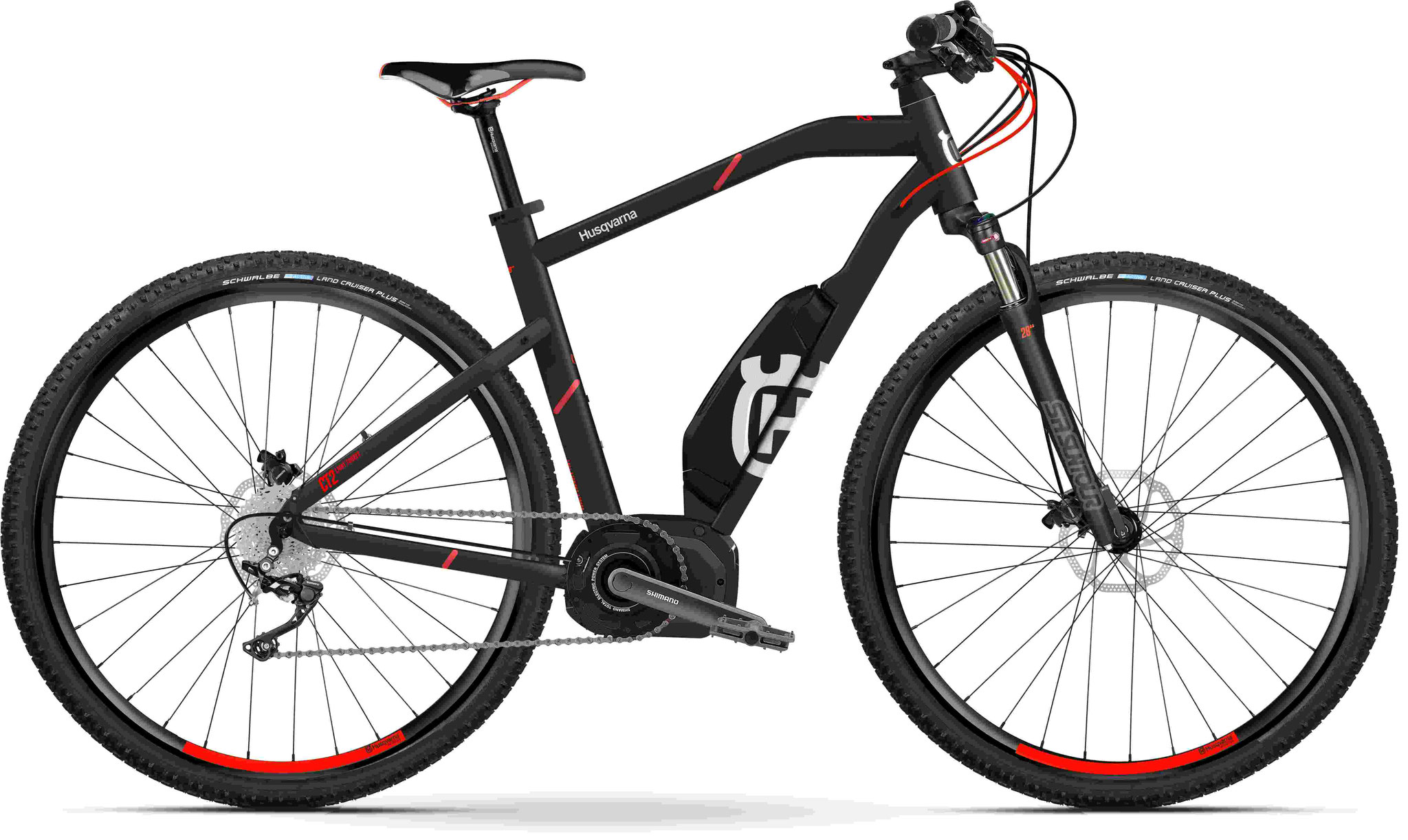 Husqvarna Cross Tourer CT2 e-Mountainbike, MTB Pedelec 2018 schwarz/rot Diamantrahmen