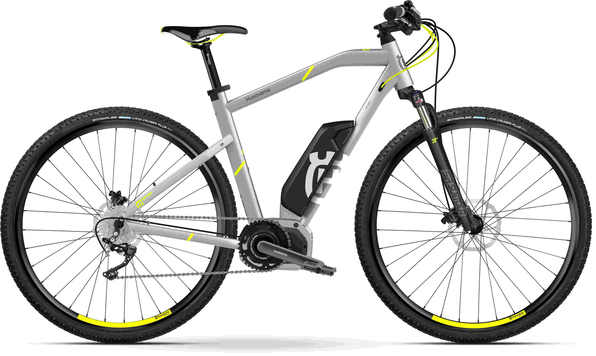 Husqvarna Cross Tourer CT1 e-Mountainbike, MTB Pedelec 2018 silber/gelb Diamantrahmen
