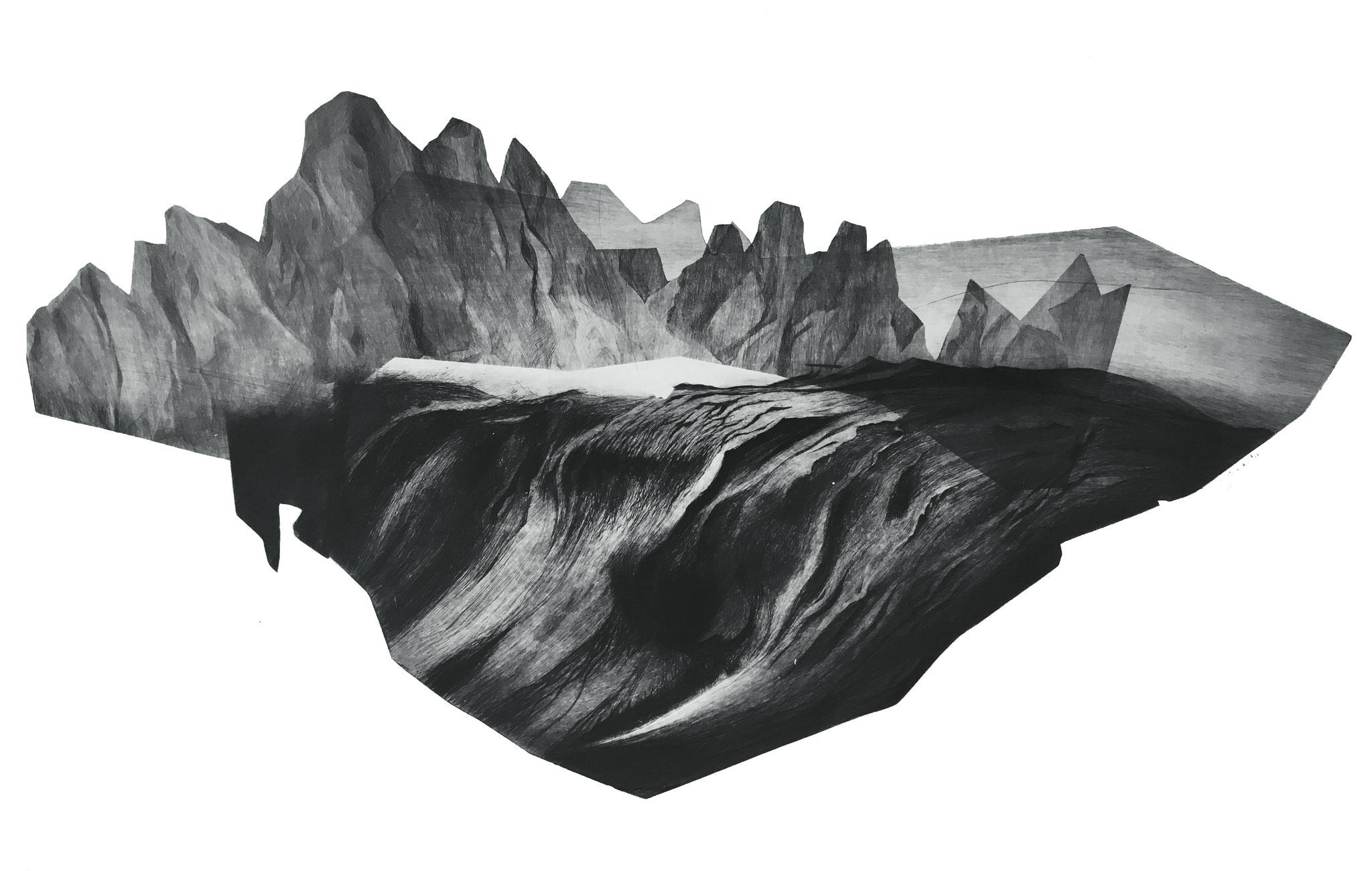 Série Les Enigmes, 4 I pointe sèche sur papier Fabriano I Epreuve d'artiste I 56 x 76 cm I 2017