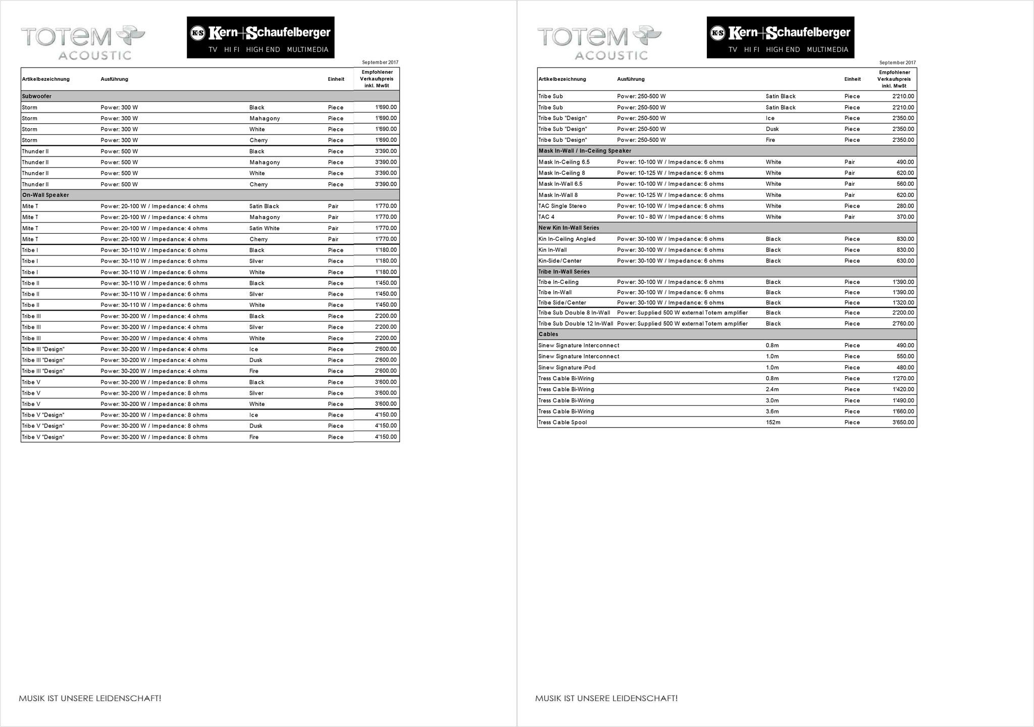 Totem Acoustic Preisliste 2/2
