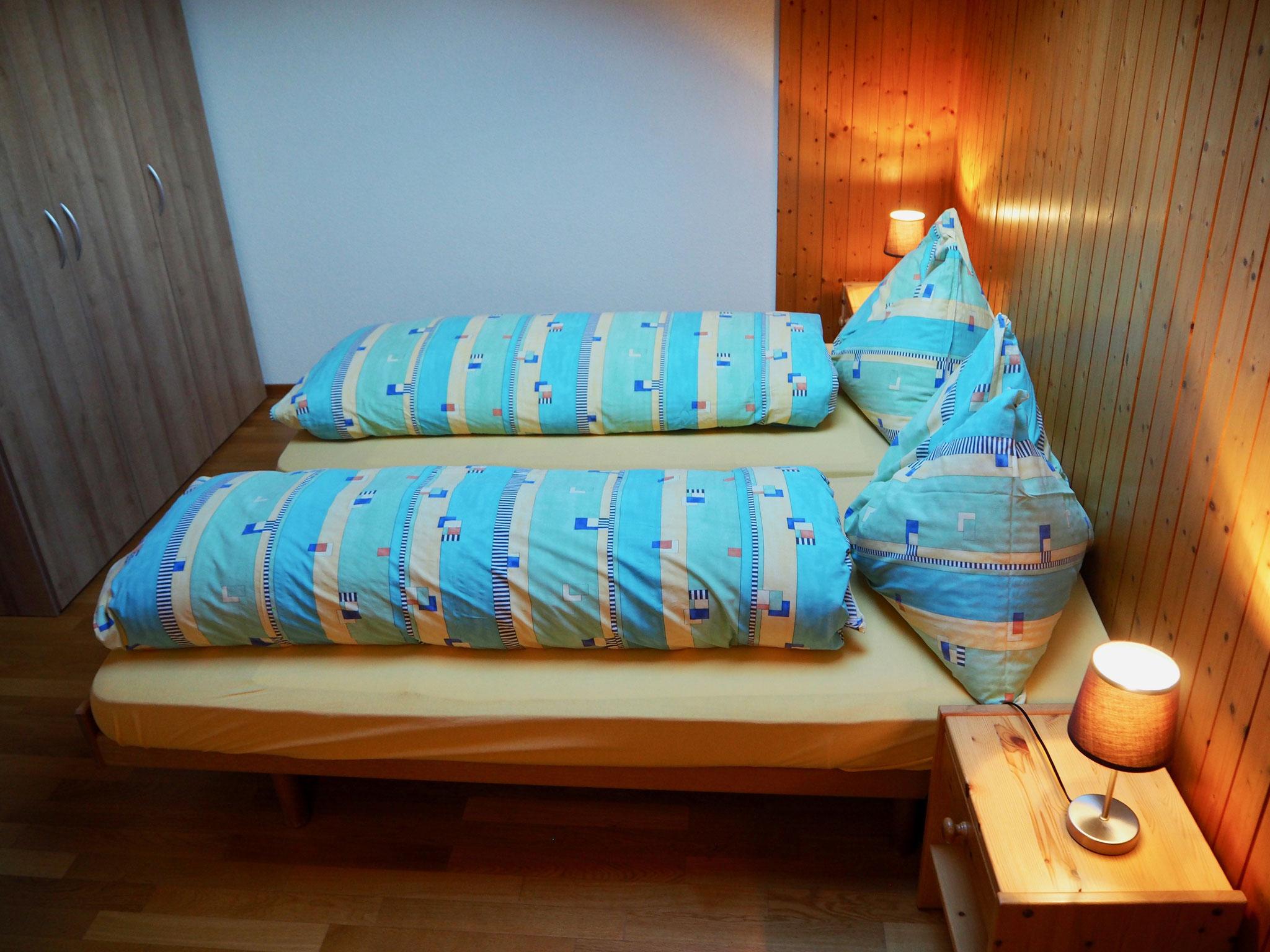 2 Einzelbetten (Kopfkissen + Bettdecke Daunen)