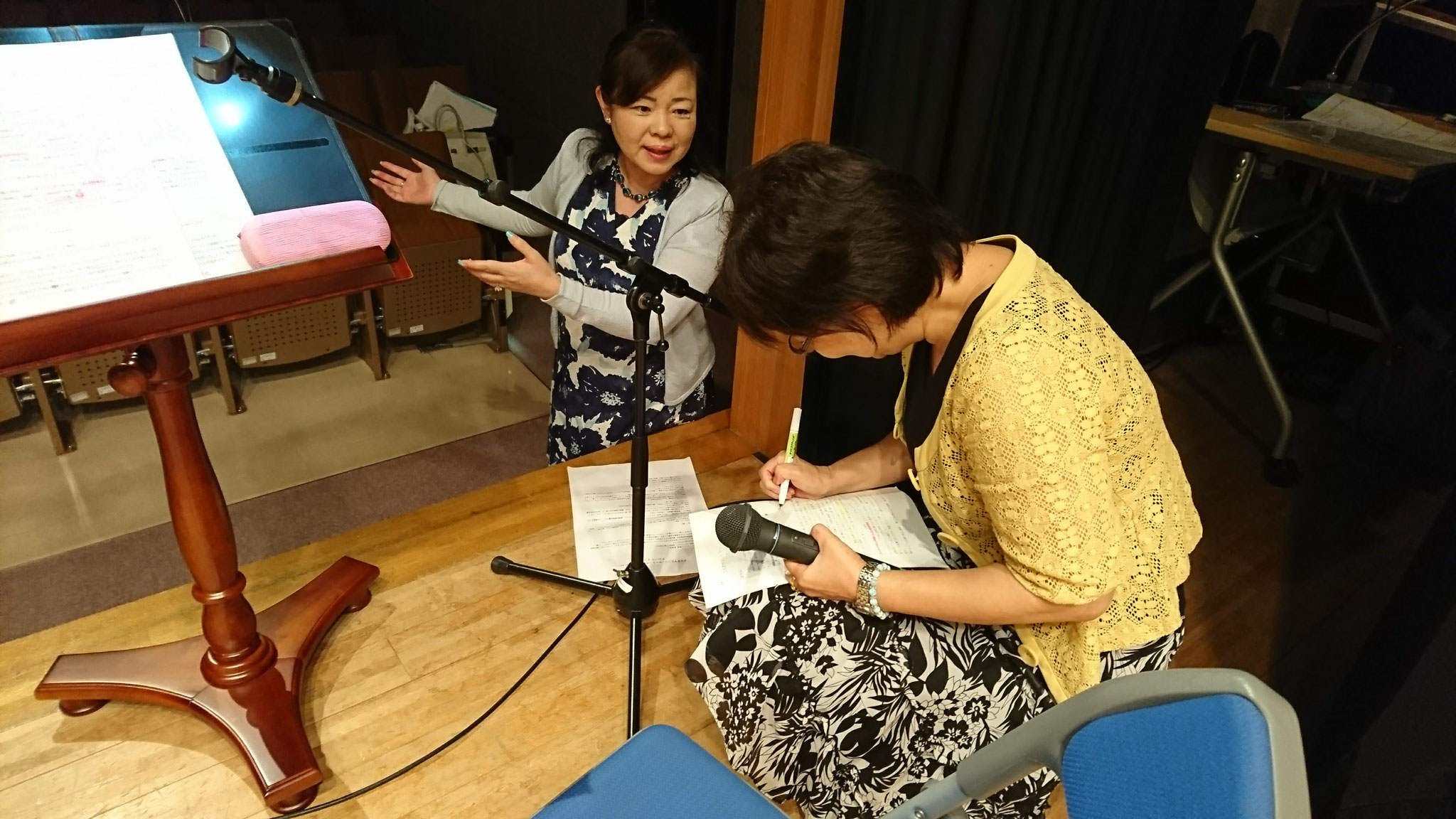 8月3日:桂幾子さんを講師に招いて、アナウンス指導。