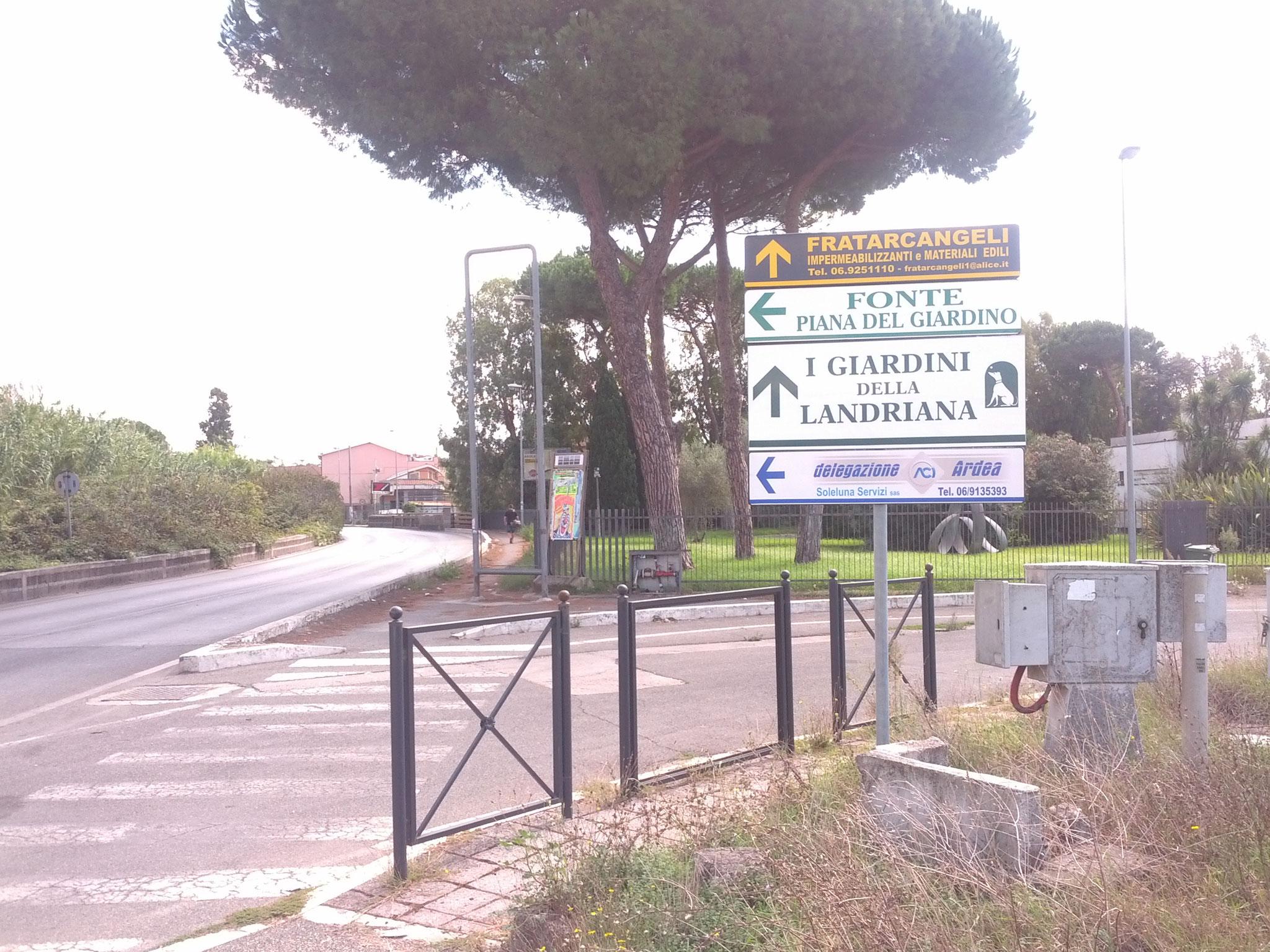 Targhe pubblicitarie ad Ardea Delegazione Aci Ardea, fonte Piana del giardino, I giardini della Landriana