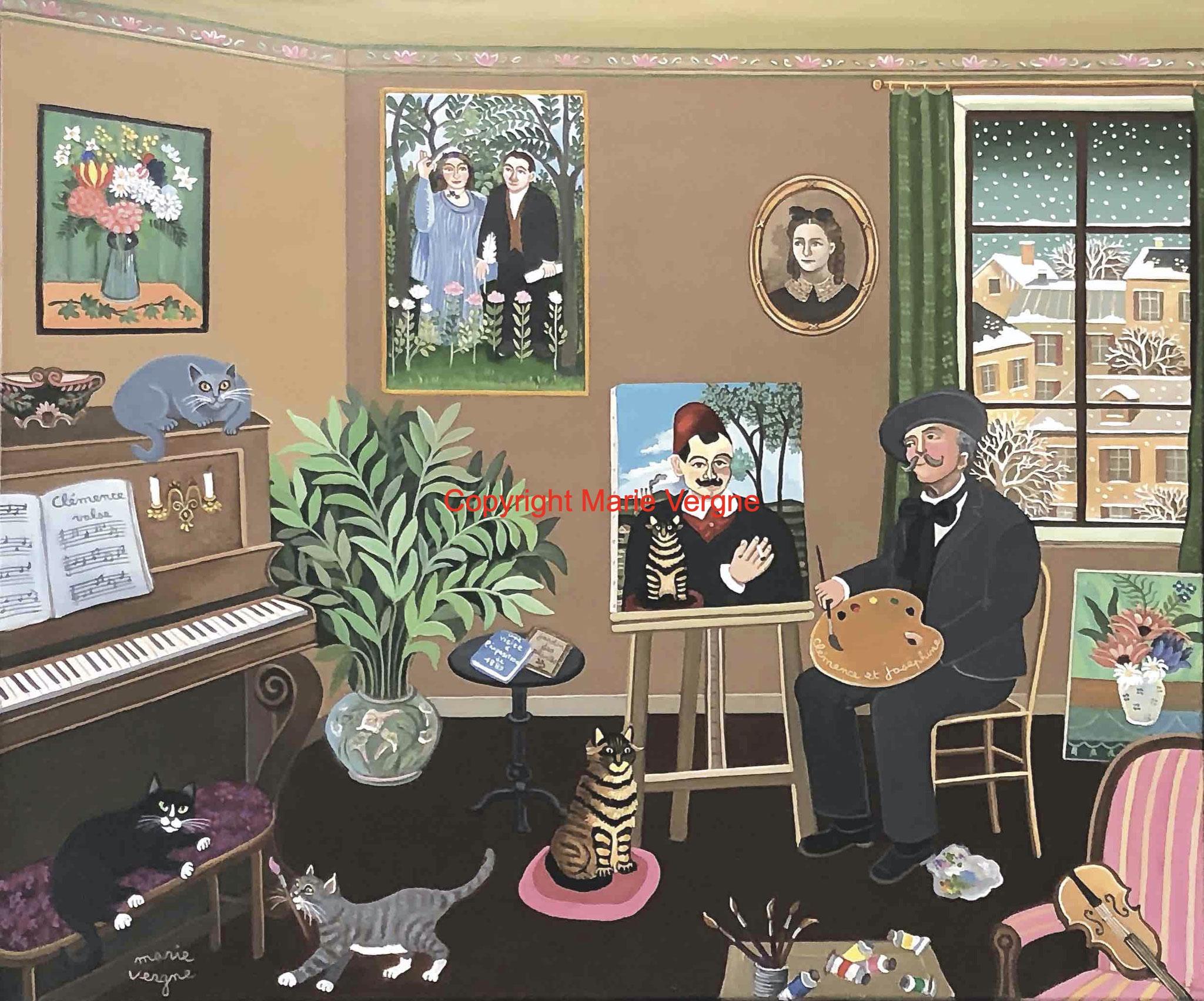 Rousseau et le chat de Pierre Loti   Format  10 F  55cm x 46cm