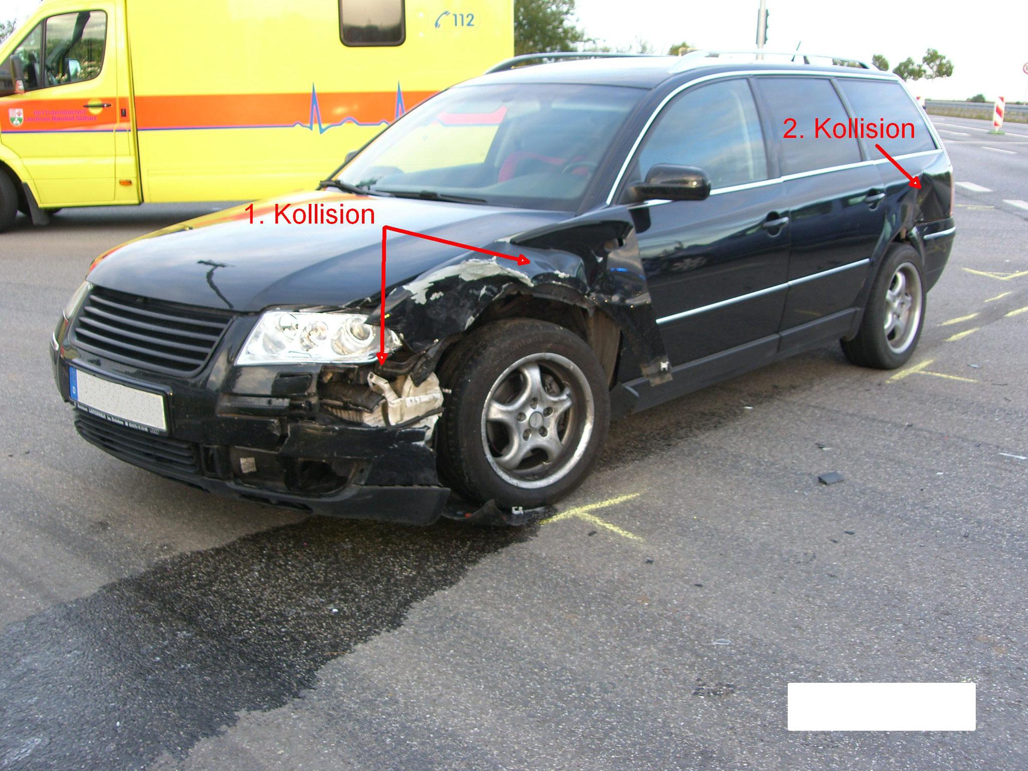 Schäden am unfallbeteiligten PKW VW Passat