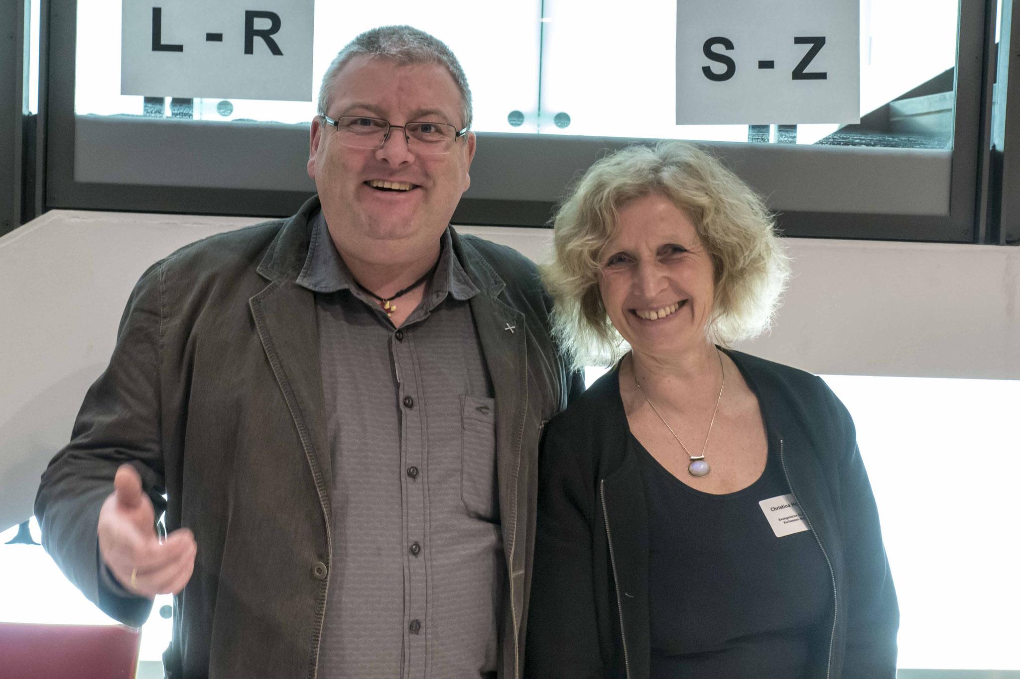 Mit am Empfang Peter Grohme und Christina Meybohm vom Referat Wirtschaft - Arbeit - Soziales