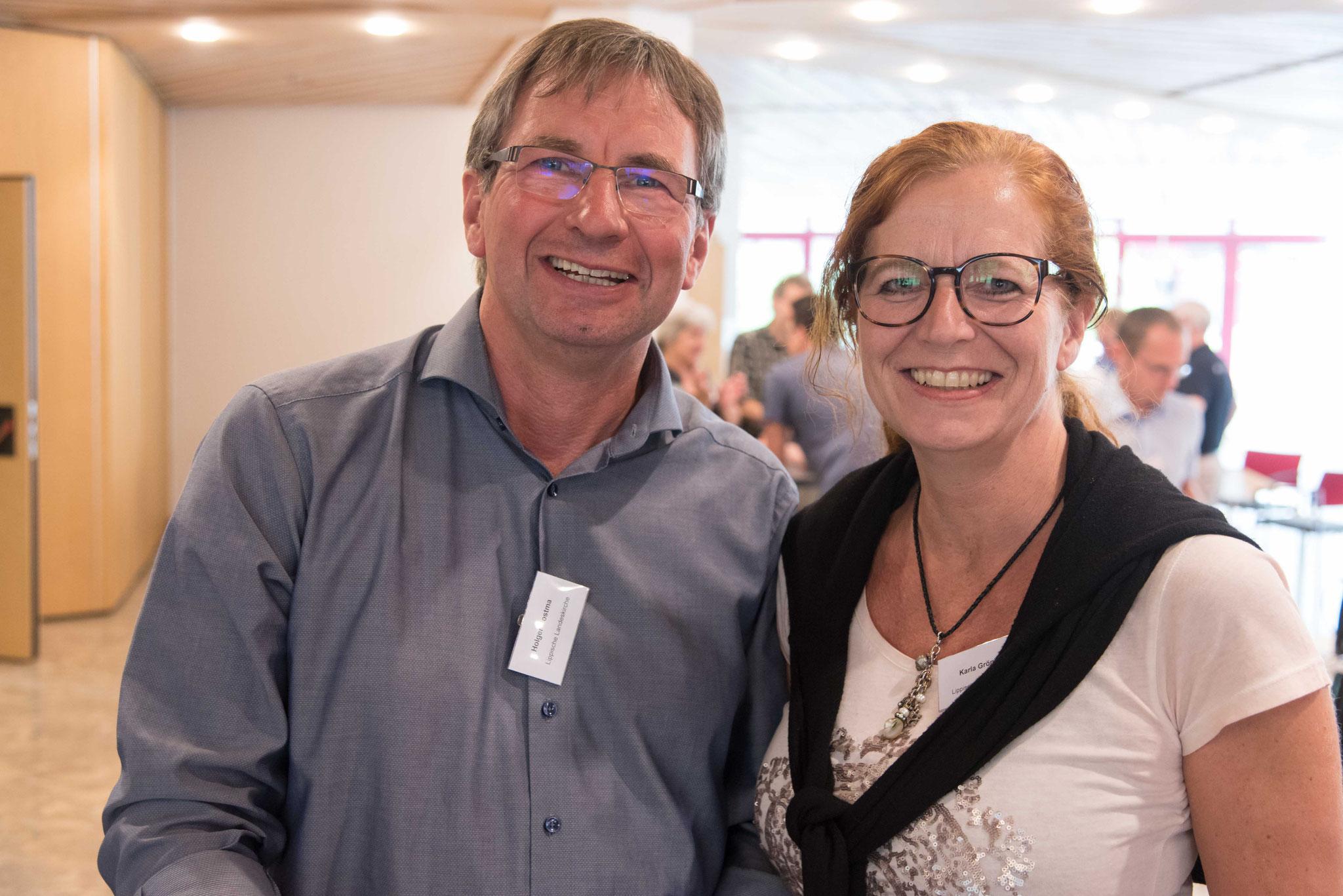 Die Delegierten der Lippischen Landeskirche: Karla Gröning und Holger Postma