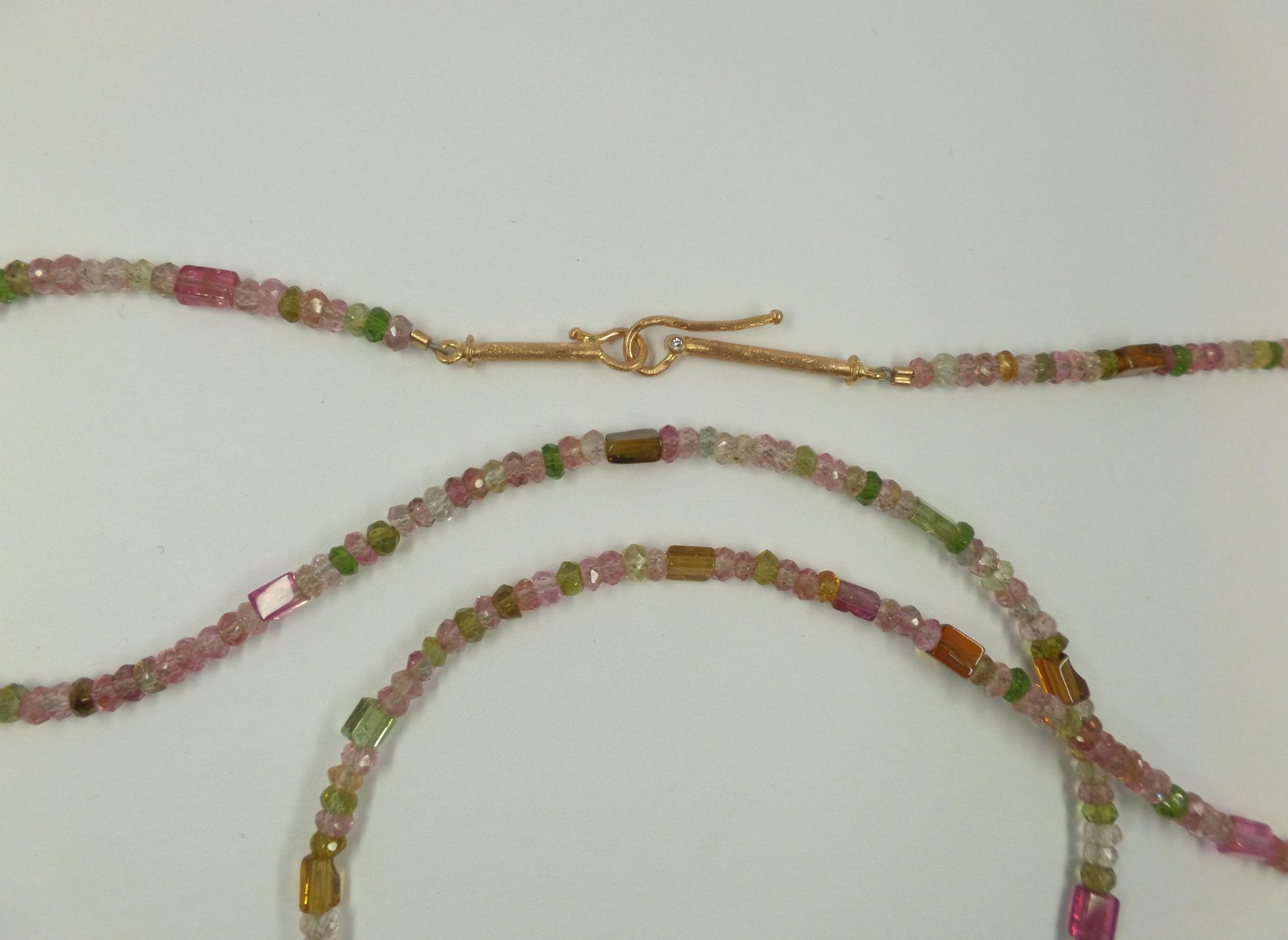Turmalinkette mit 750/- Rosegoldverschluss