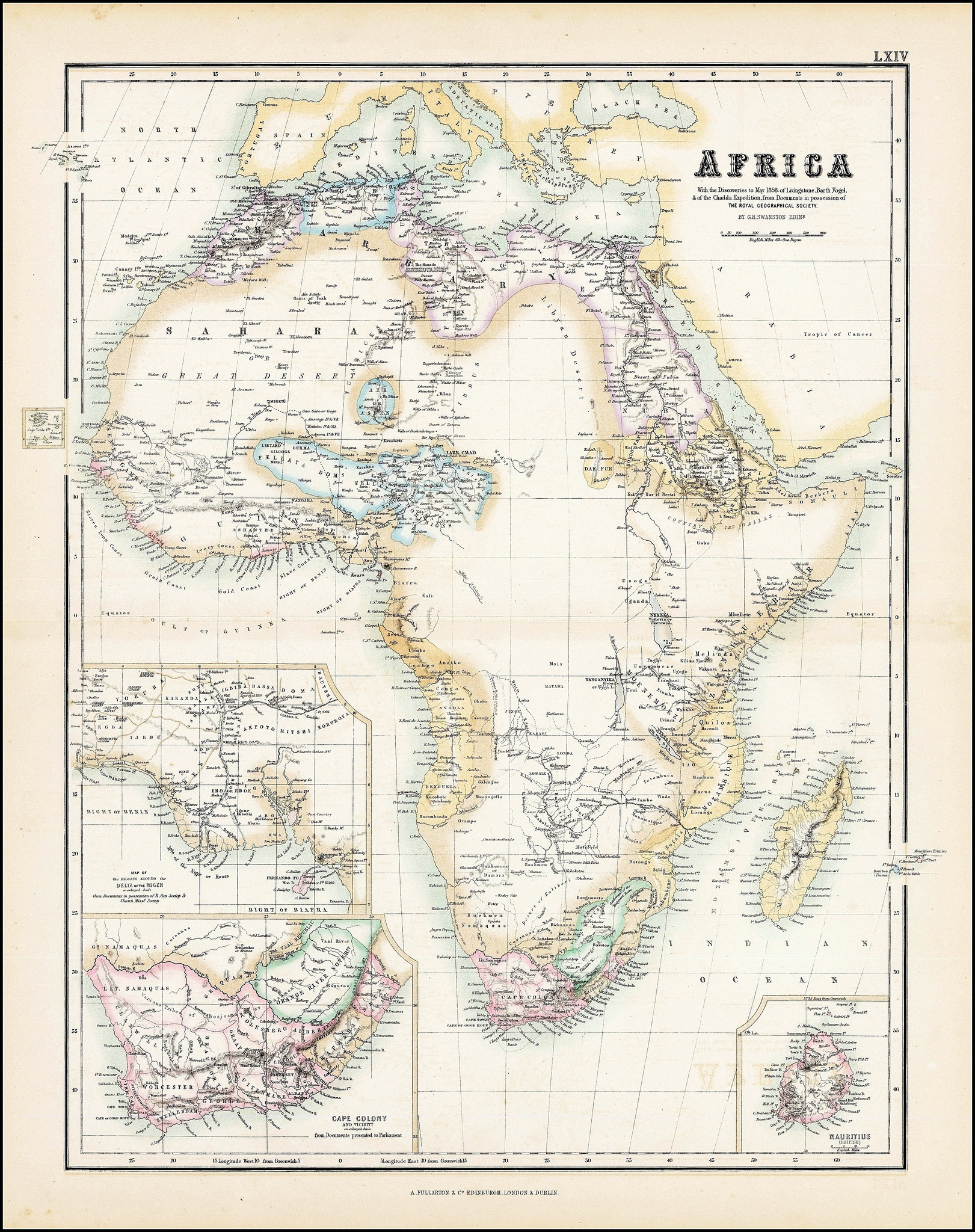 Mappa dell'Africa - 1855