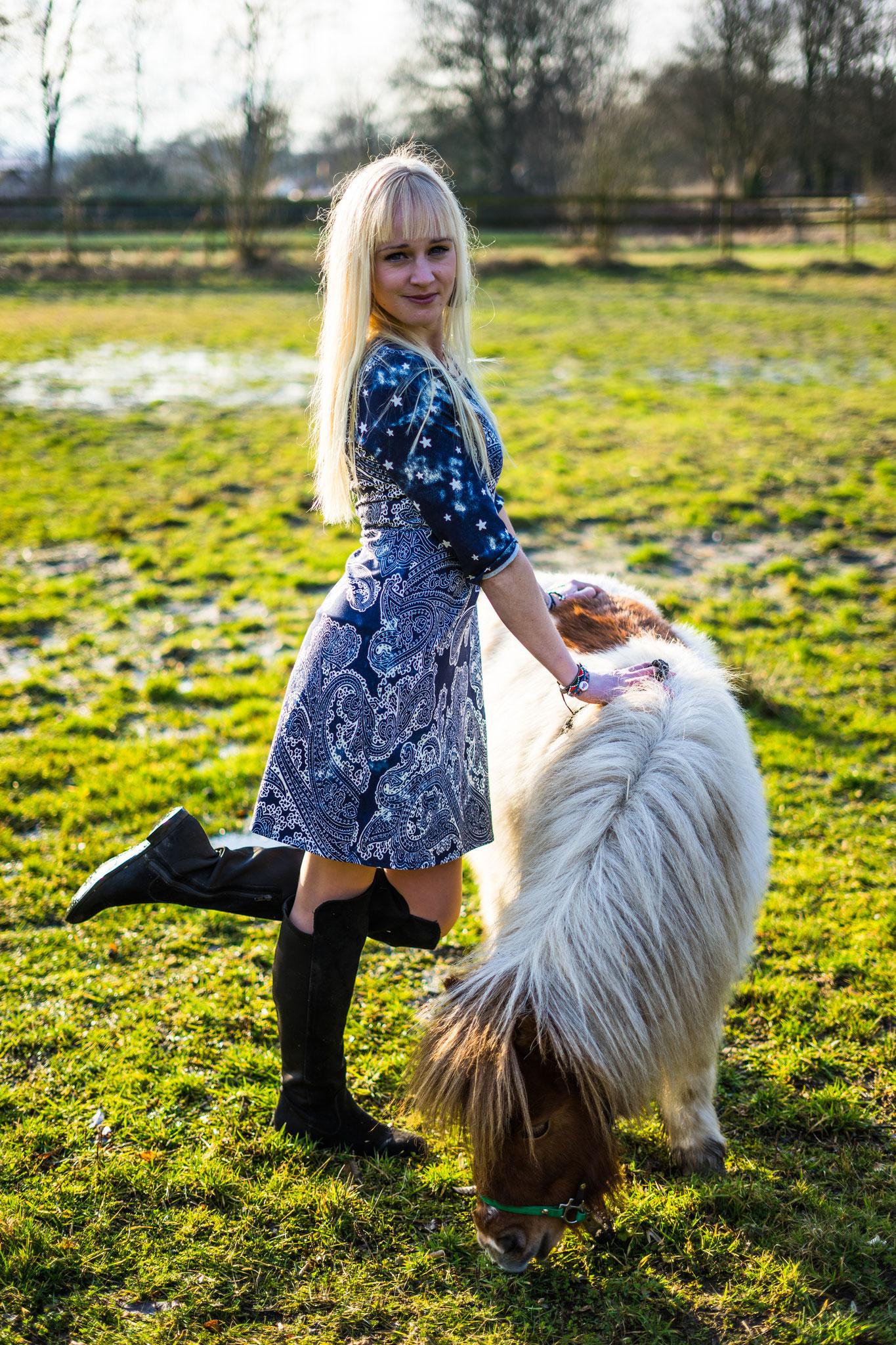 Jerseykleid Paisley blau