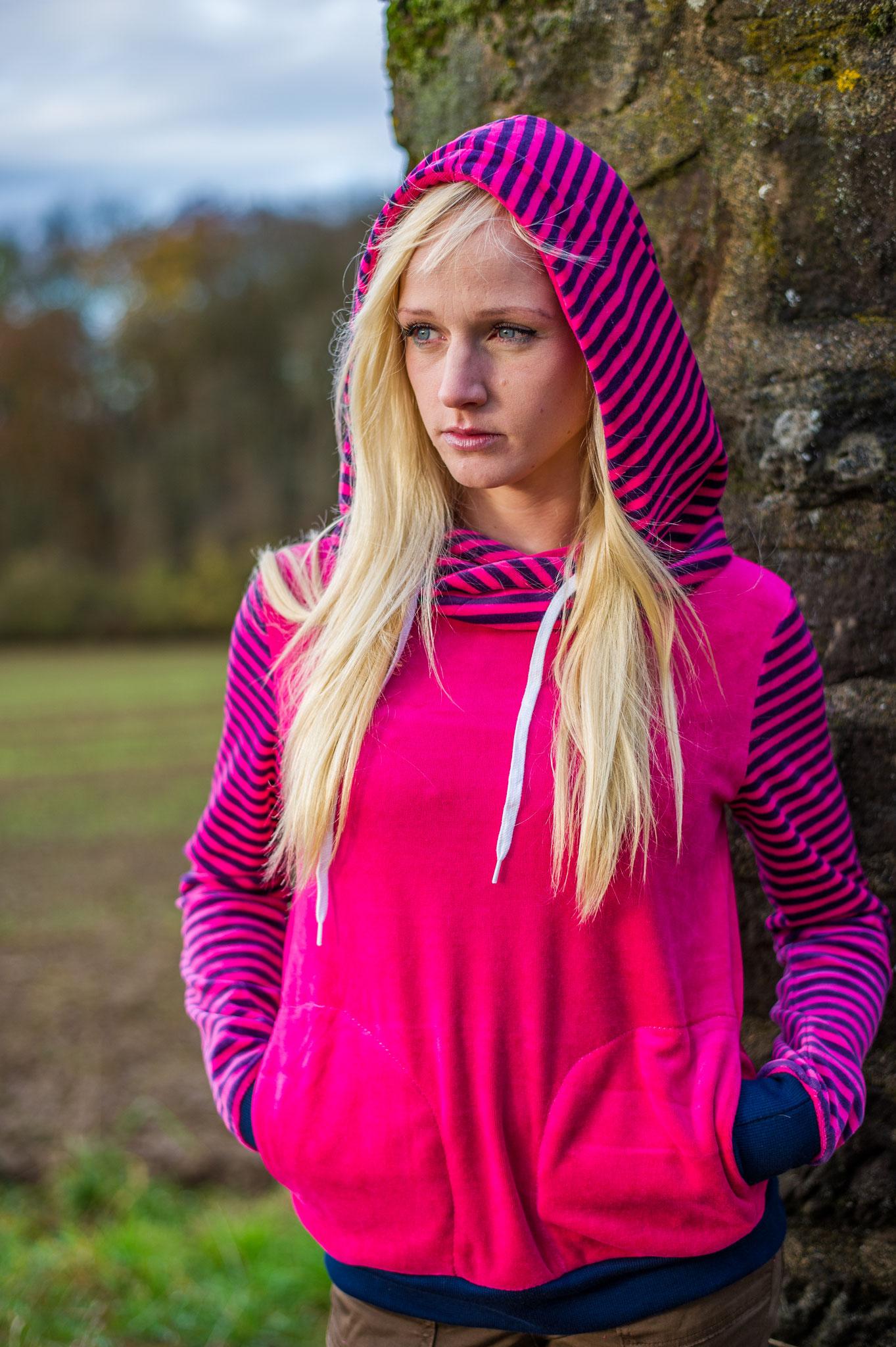 Hoodie Ringel pink
