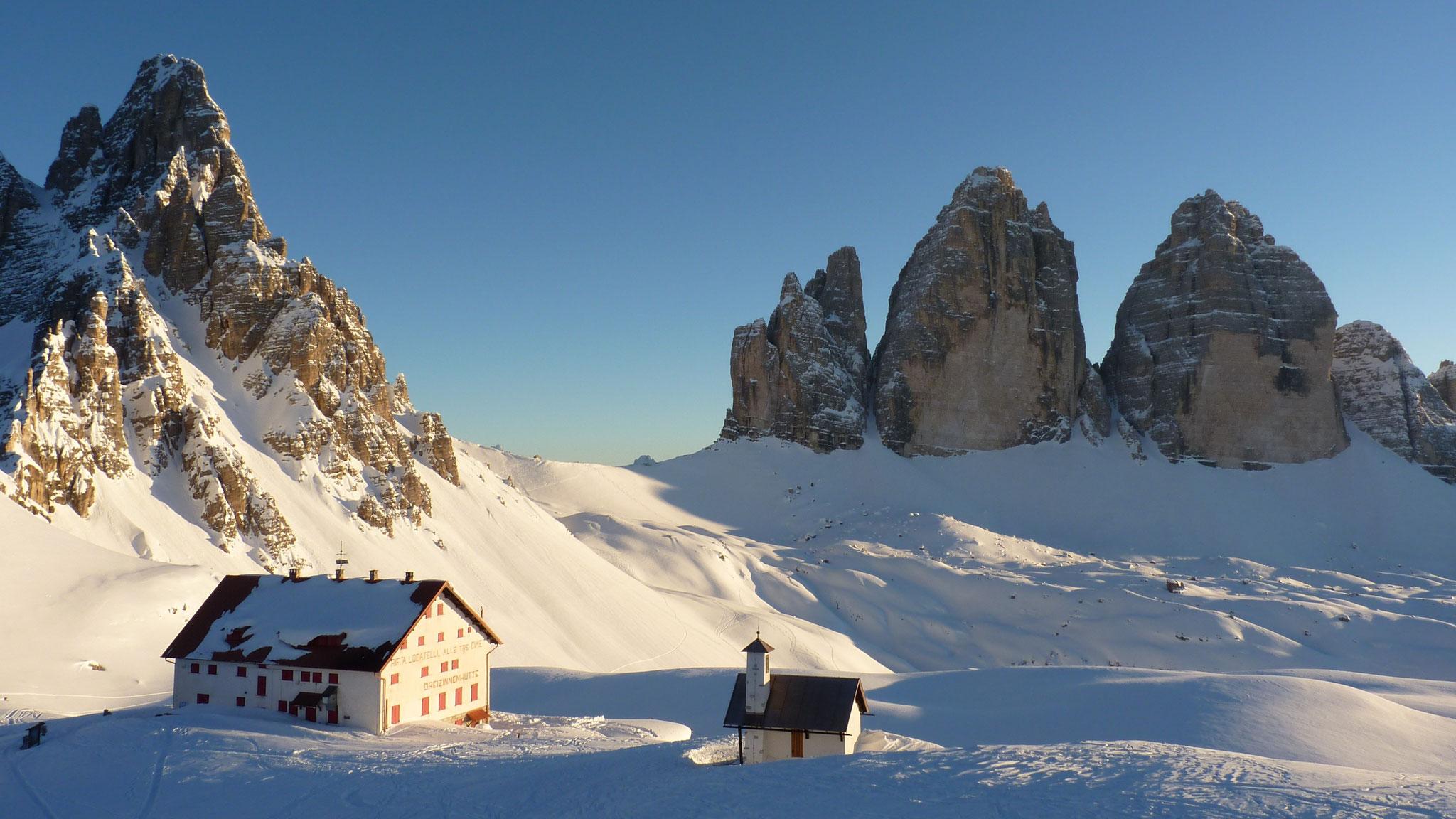 Die Nordseite der Drei Zinnen im Winter © Fritz Miller