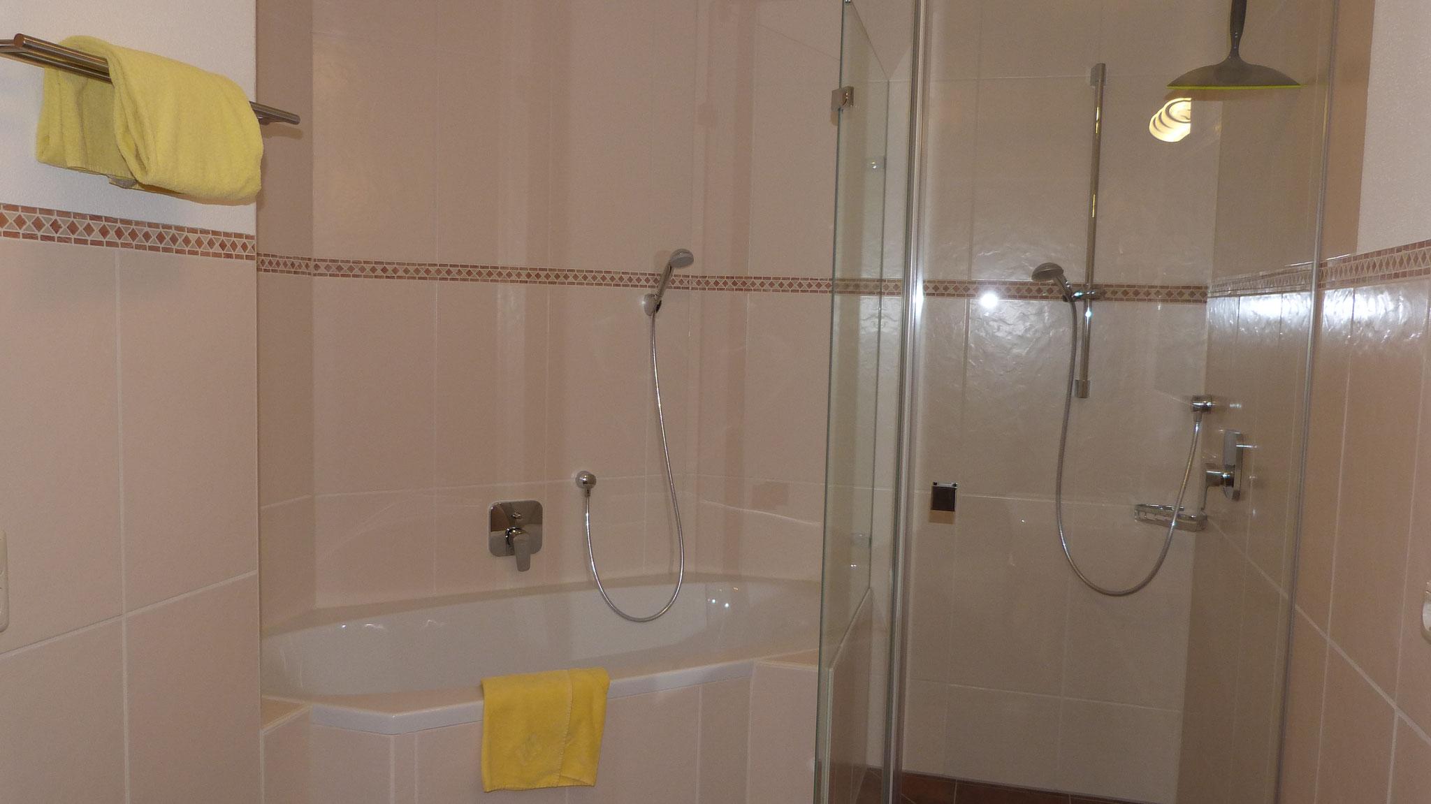 Großes Bad mit ebenerdiger Duche und Badewanne
