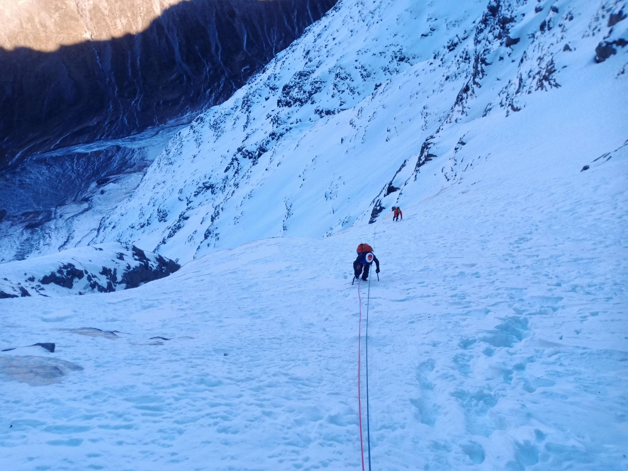 La pente intermédiaire  -  Cascade guide Maurienne