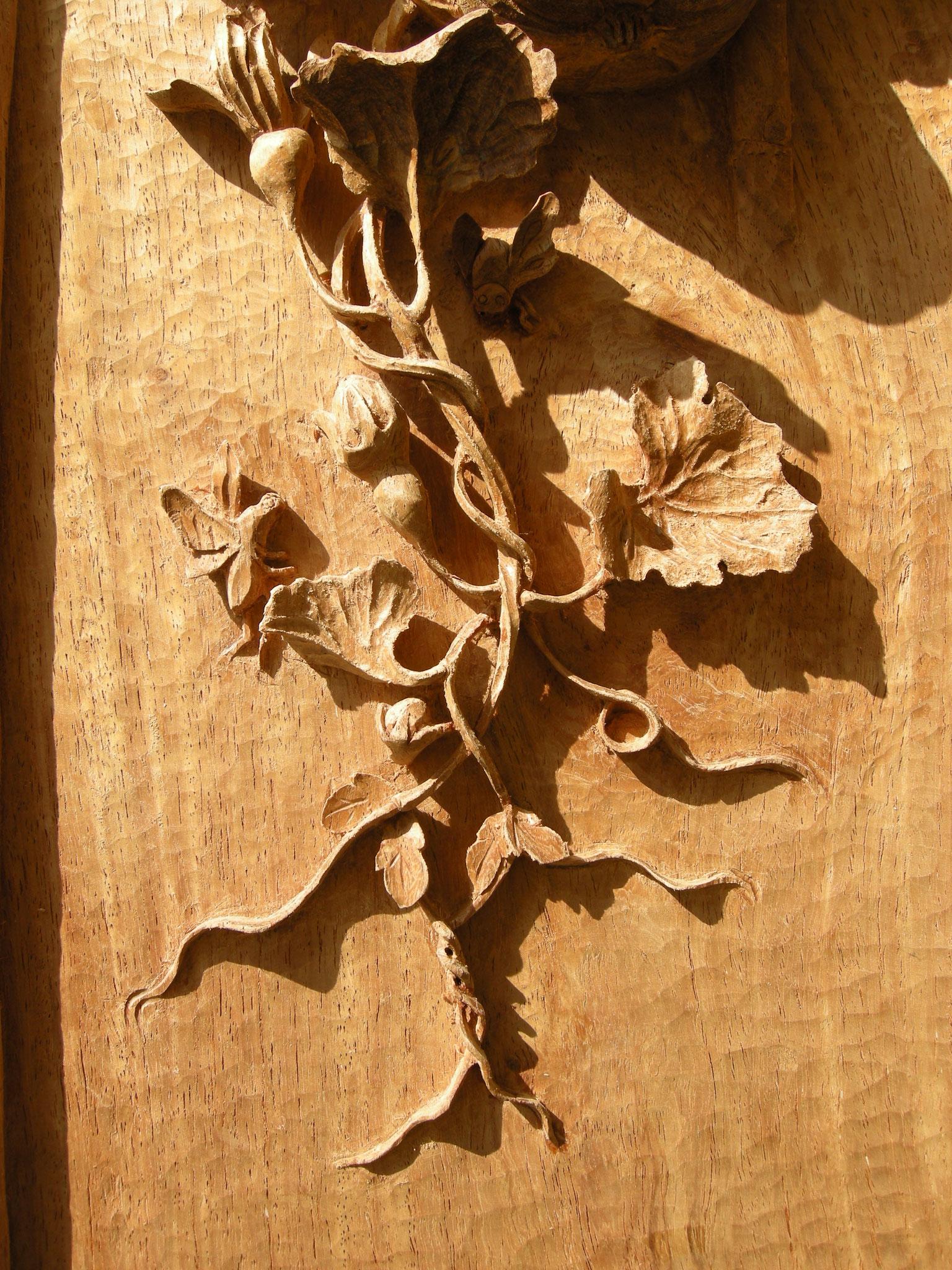 Kürbisranke Holzbildschnitzerei