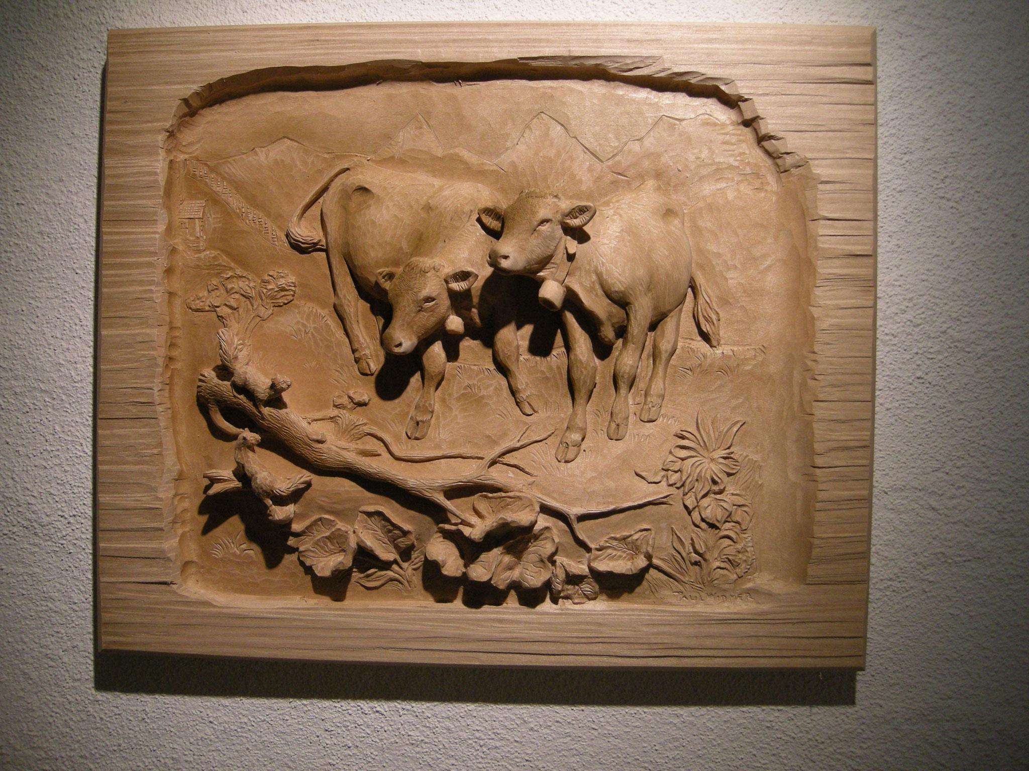 Kälber Holzschnitzerei