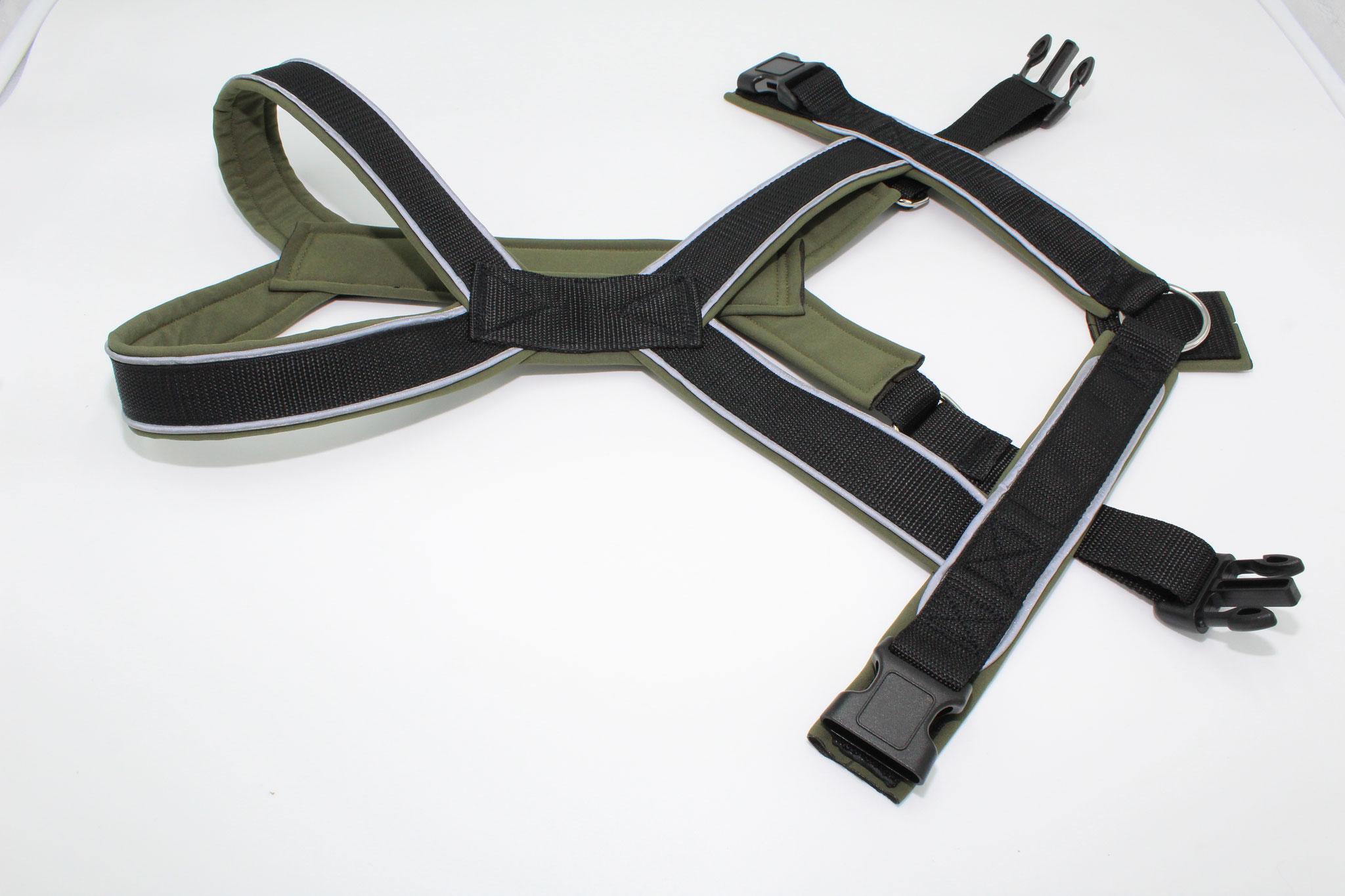 Gurtband schwarz G1, Softshell olivgrün S59, mit Reflektorenpapsel