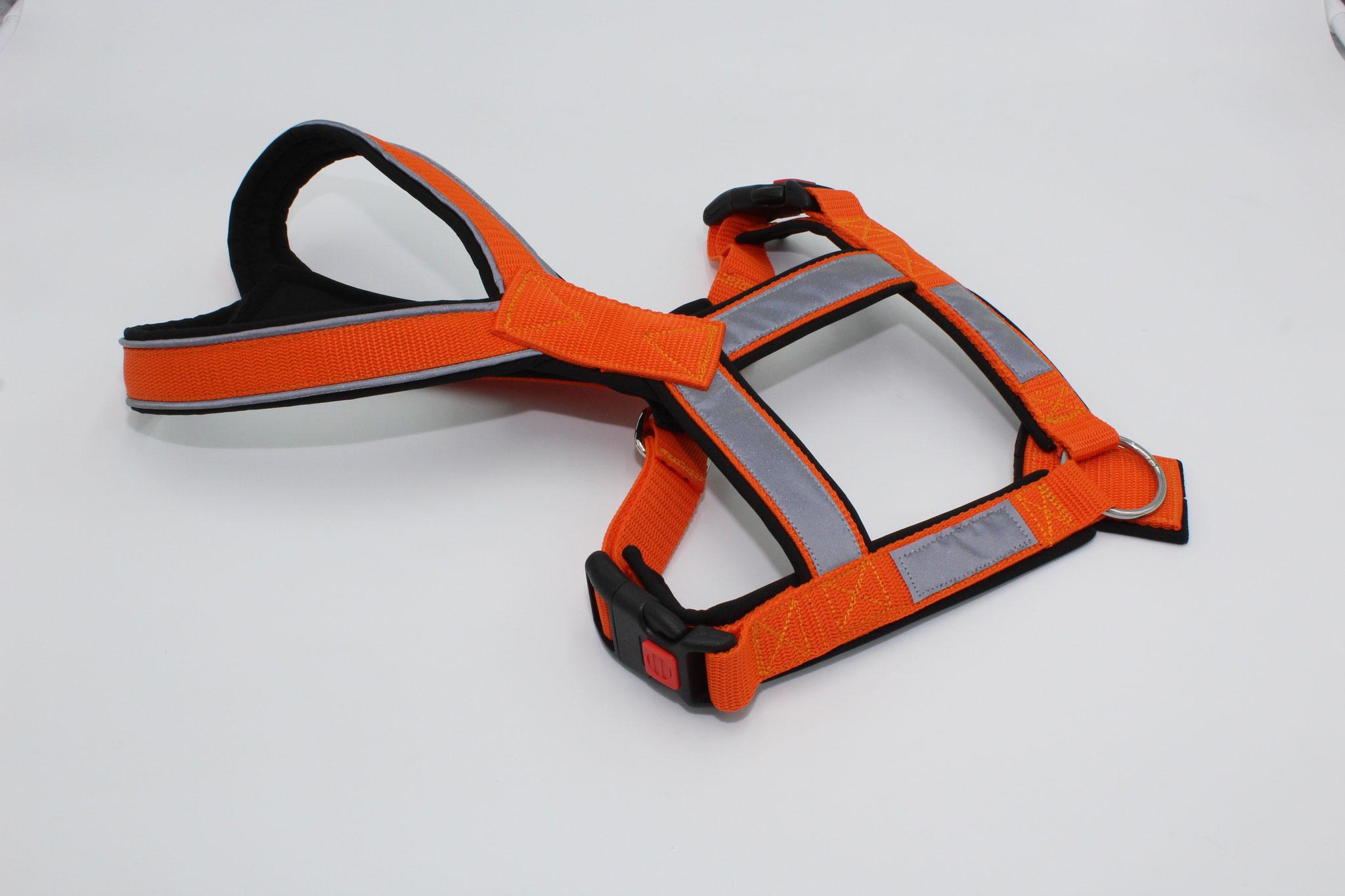 Gurtband orange G18, Softshell schwarz S53, mit Reflektorenpapsel und Reflektorenband