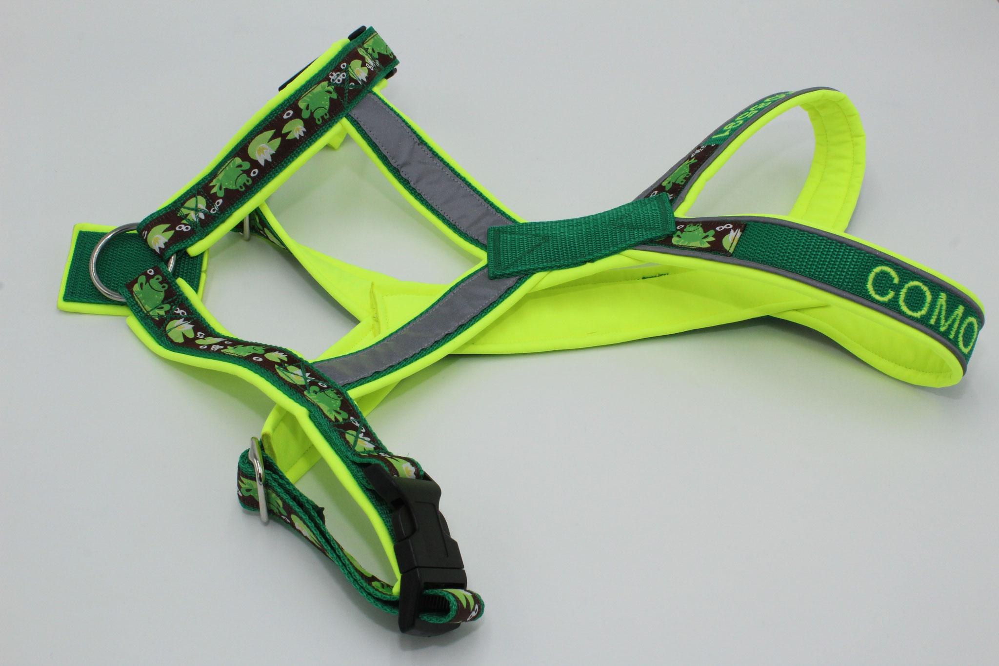 Gurtband grün G11, Softshell neongelb S46, mit Bestickung, Webband, Reflektorenpaspel und Reflektorenband