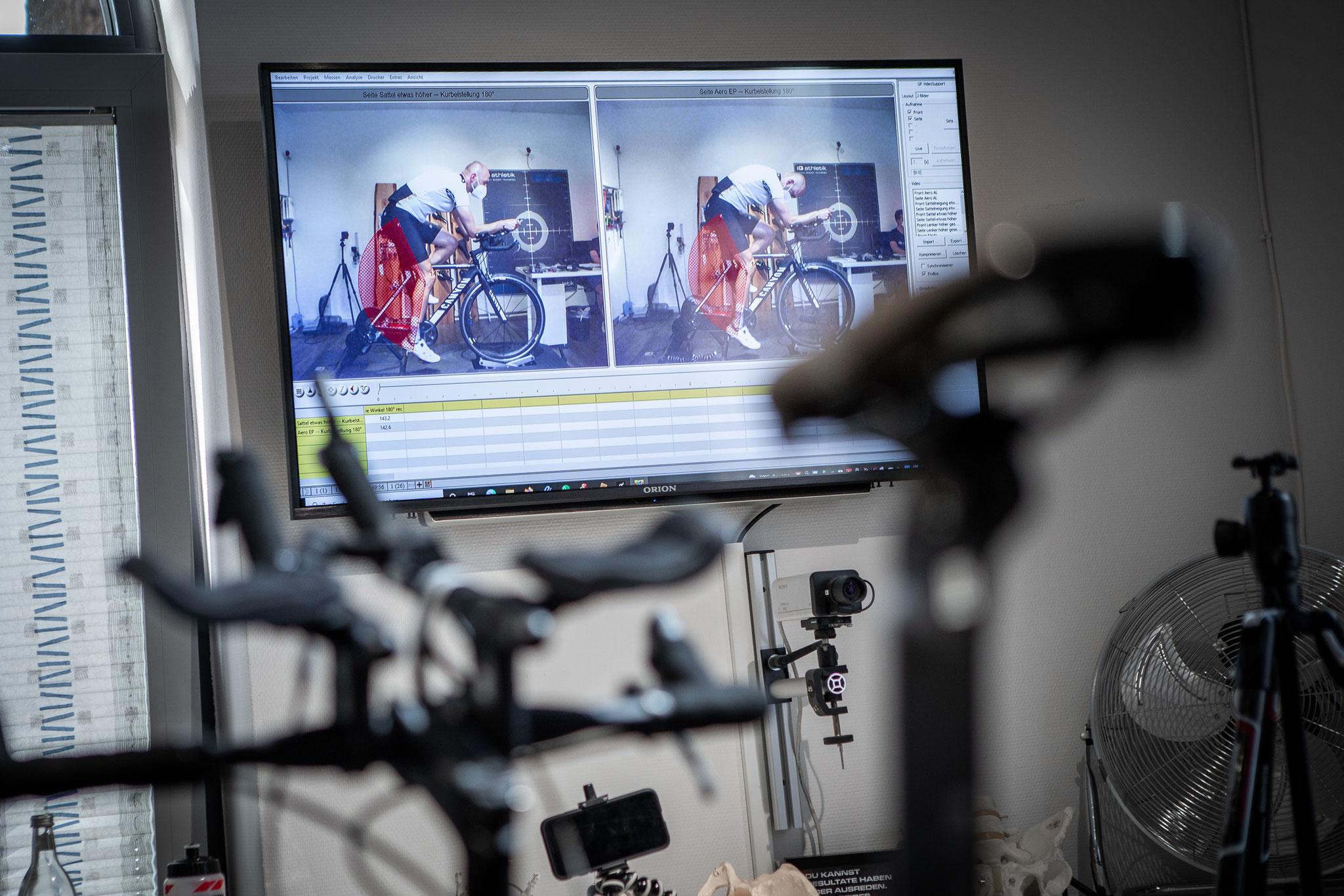Videoanalyse der Sitzposition auf dem Fahrrad (Foto: Nils Thies)