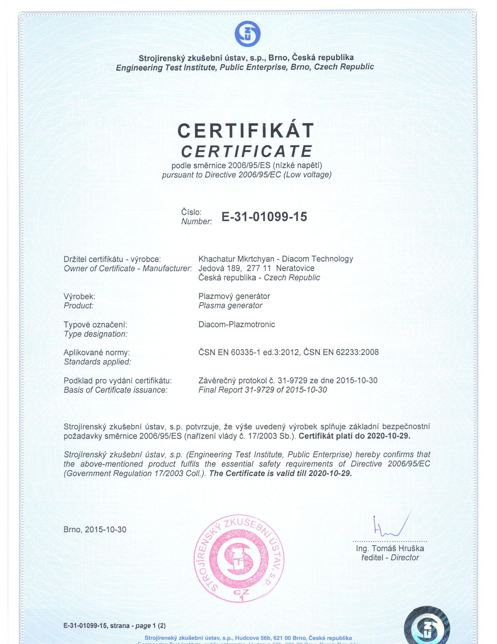 Certyfikat Europejski CE  Generatora Plazmowego Diacom Plazmotronic