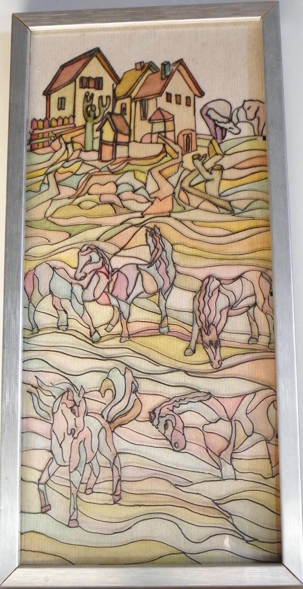 Opera n.11 - Pittura, acrilico su vetro con cornice in legno - cm 44x33