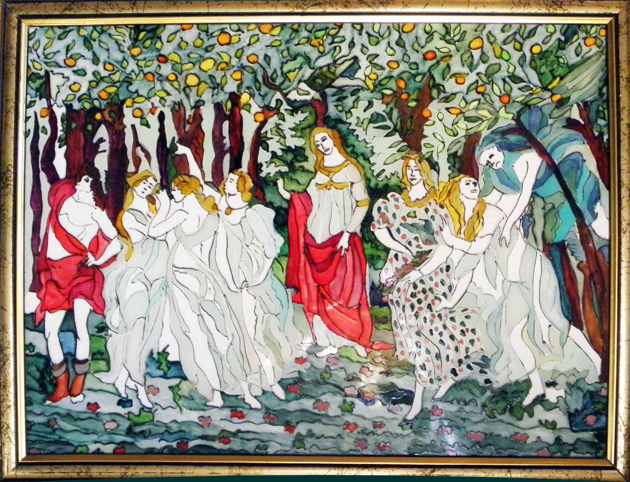 Opera n.9 Pittura su vetro con cornice in legno color oro - cm 34x43