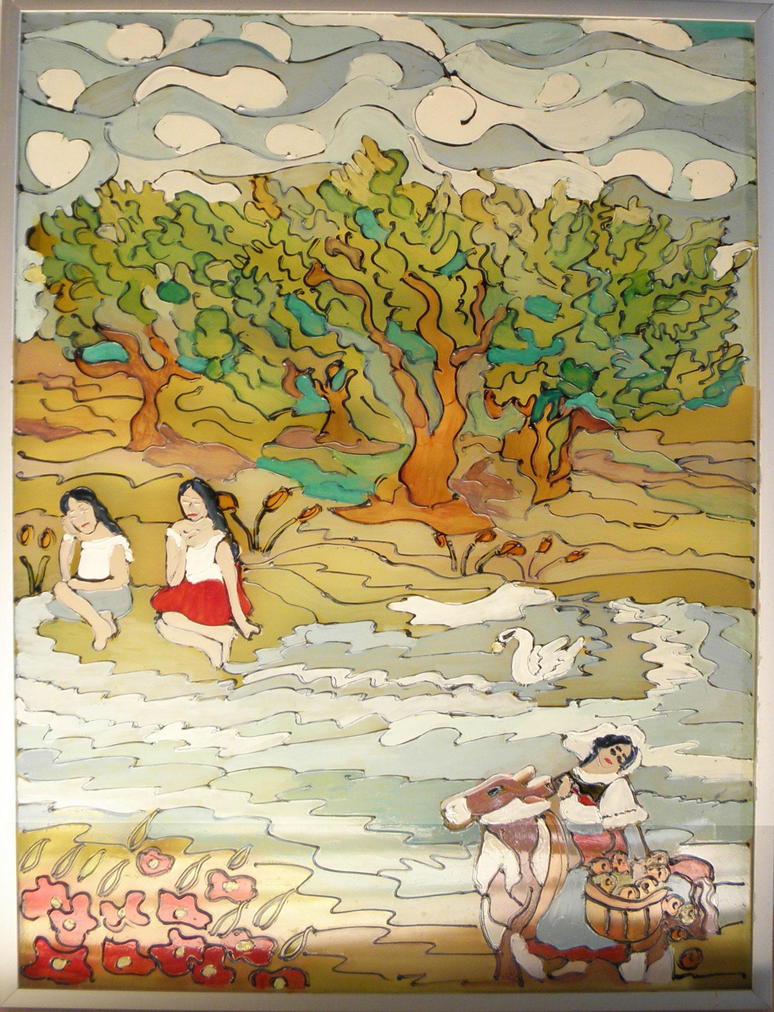 Opera n.14 - Pittura acrilico su vetro, cornice in legno - cm 41x31