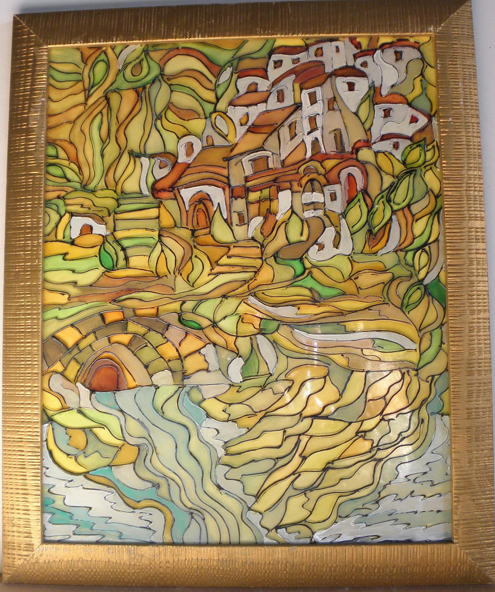 Opera n.13 - Pittura acrilico su vetro, cornice in legno - cm 40x33