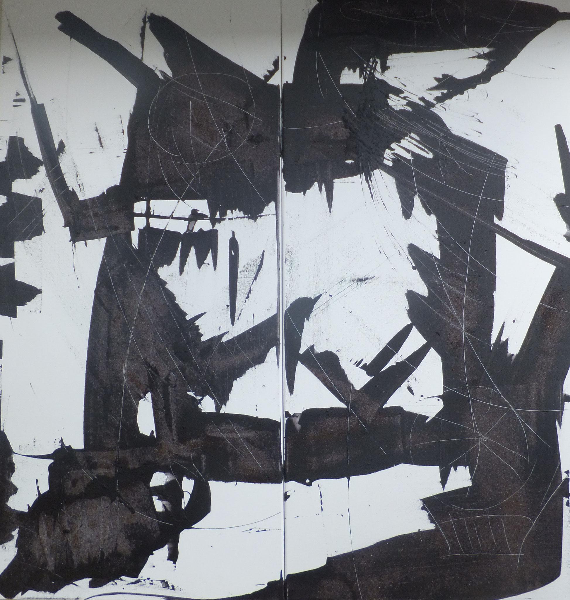 In bocca al lupo I 100 x 100 x 2 cm 2-teiliges Werk